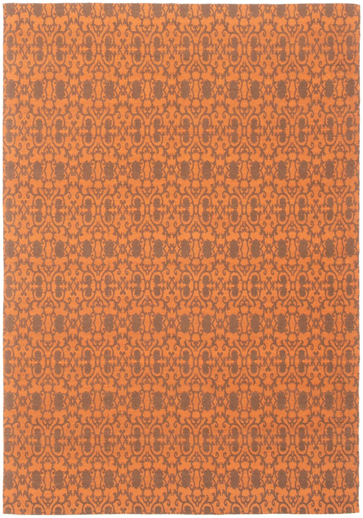 """Handmade Collage Burnt Orange, Dark Grey Chenille Rug 4'7"""" x 6'7"""" Size: 4'7"""" x 6'7"""""""