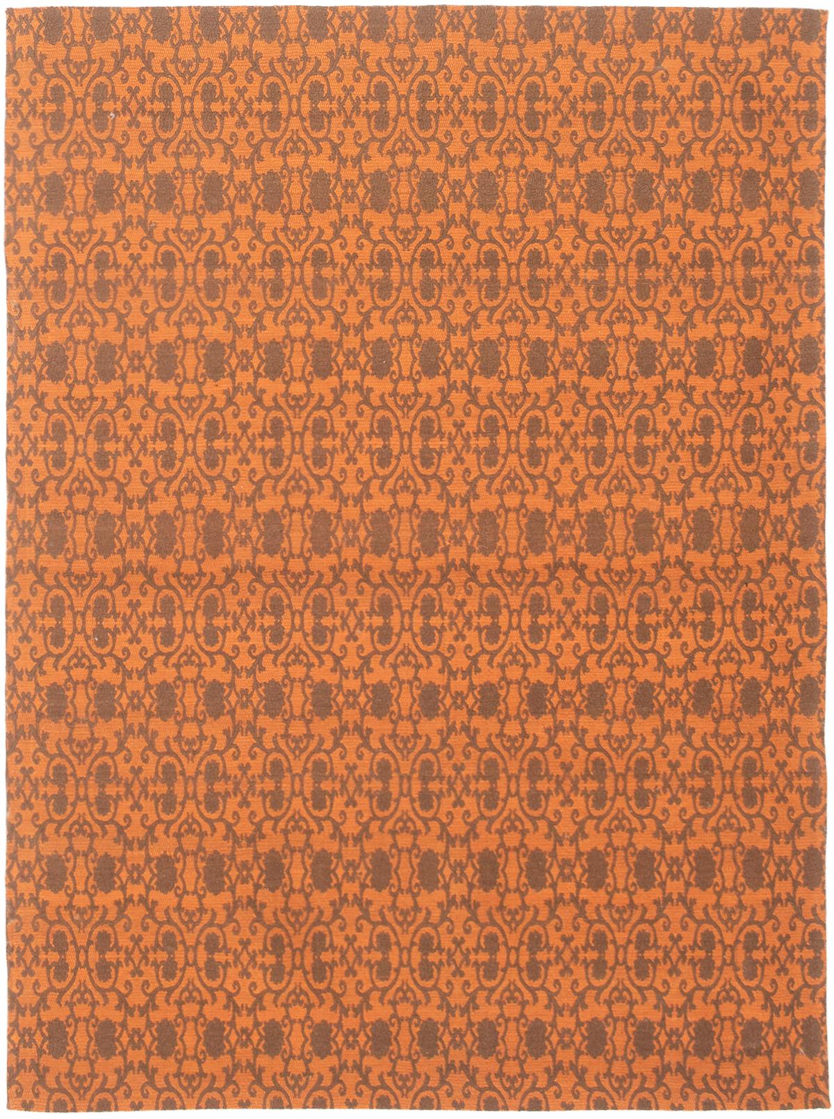 """Handmade Collage Burnt Orange, Dark Grey Chenille Rug 4'9"""" x 6'6"""" Size: 4'9"""" x 6'6"""""""