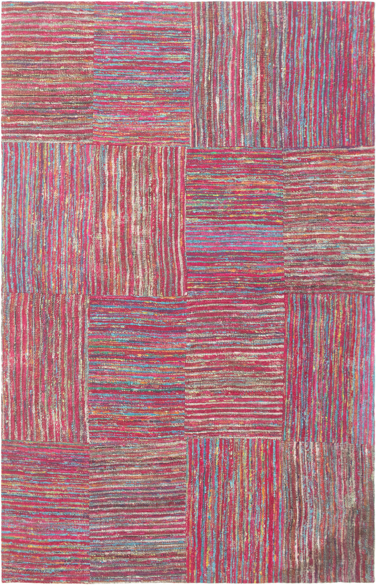 """Handmade Collage Dark Blue, Dark Pink Chenille Rug 5'0"""" x 7'11"""" Size: 5'0"""" x 7'11"""""""