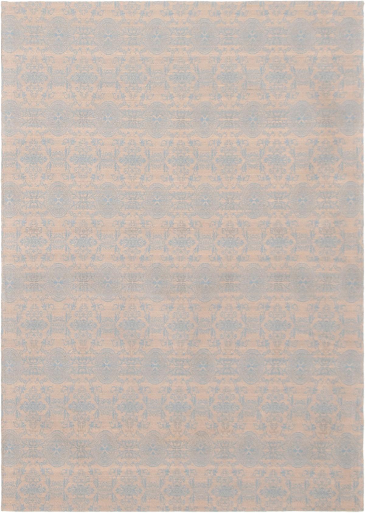 "Handmade Collage Light Khaki, Sky Blue Chenille Rug 4'9"" x 6'9"" Size: 4'9"" x 6'9"""