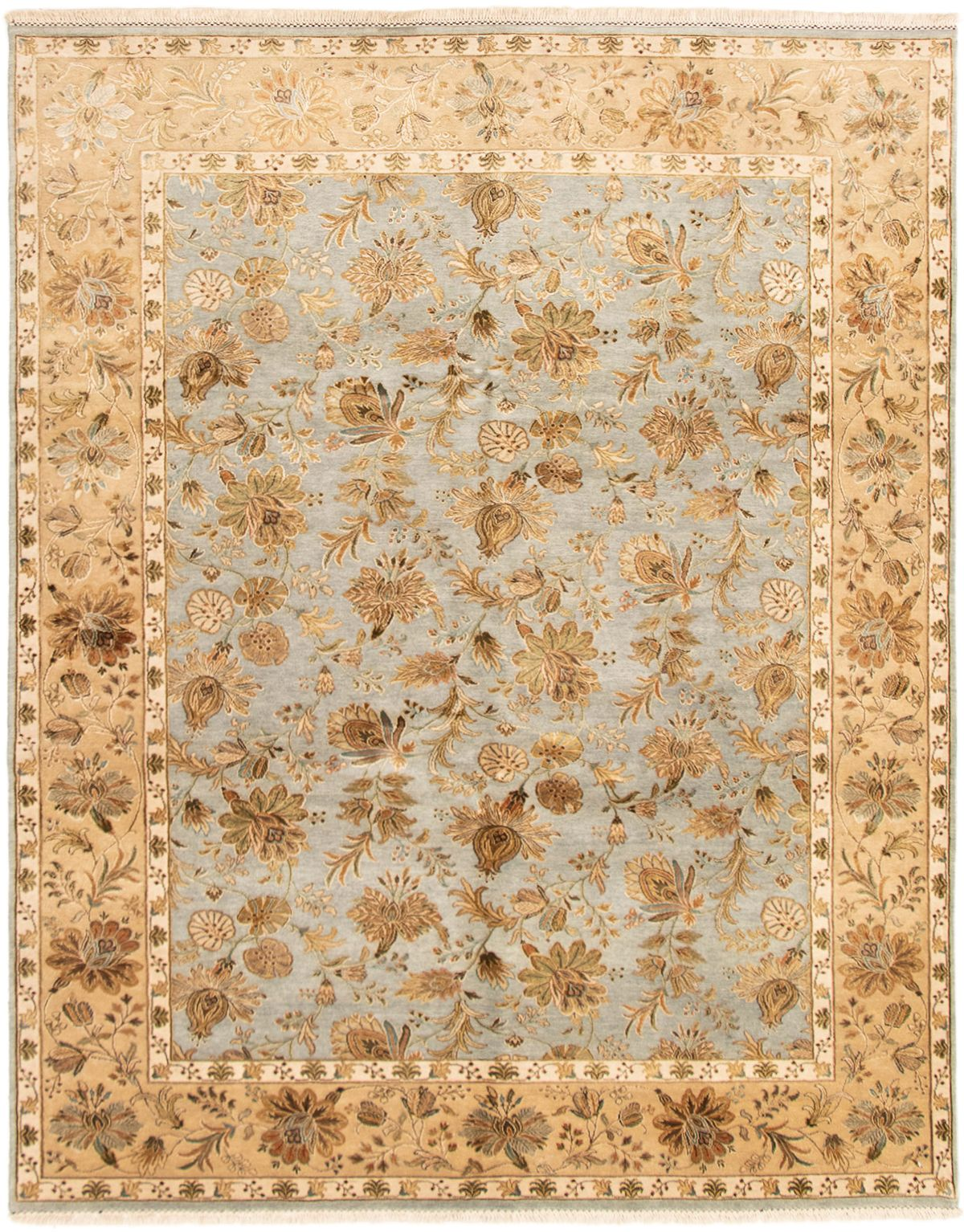 """Hand-knotted Harrir Select Light Blue  Wool/Silk Rug 8'0"""" x 10'0"""" Size: 8'0"""" x 10'0"""""""