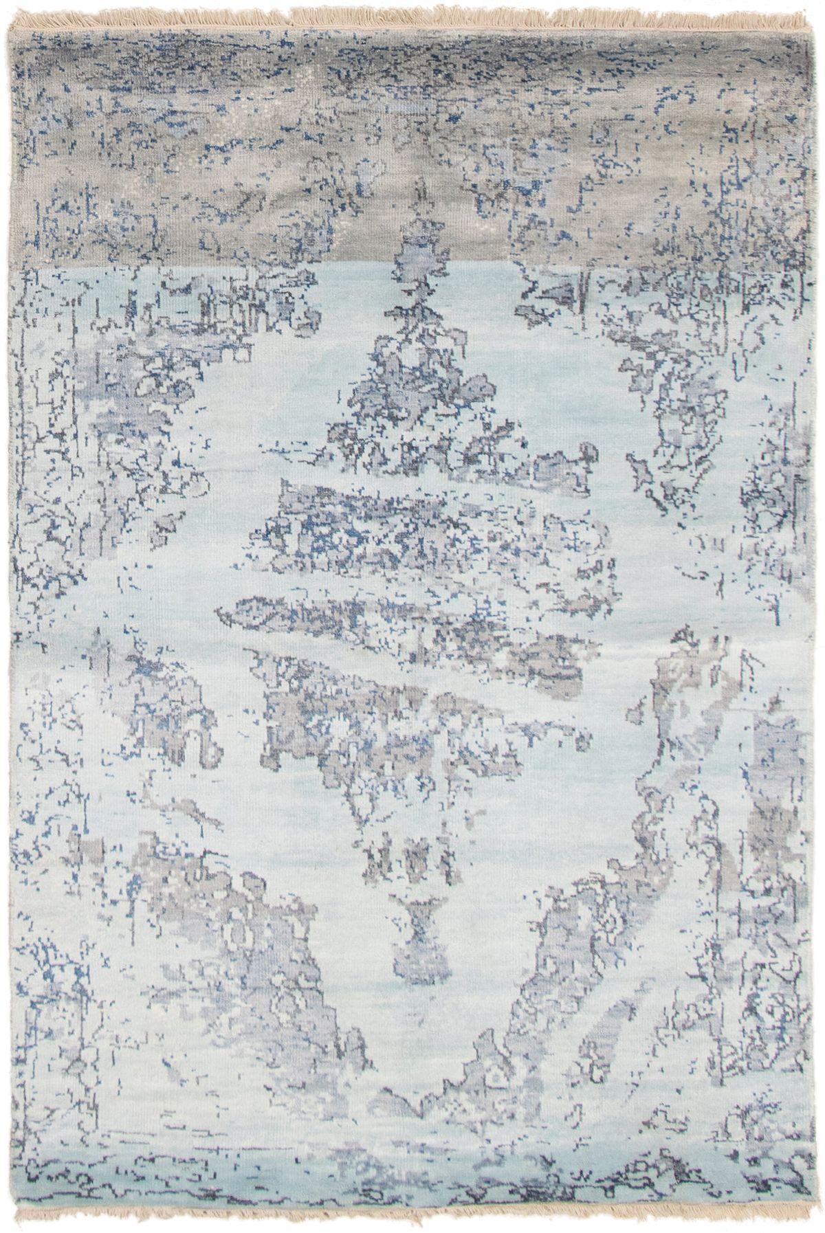 "Hand-knotted Jules Ushak Light Blue  Wool/Silk Rug 5'2"" x 7'7"" Size: 5'2"" x 7'7"""