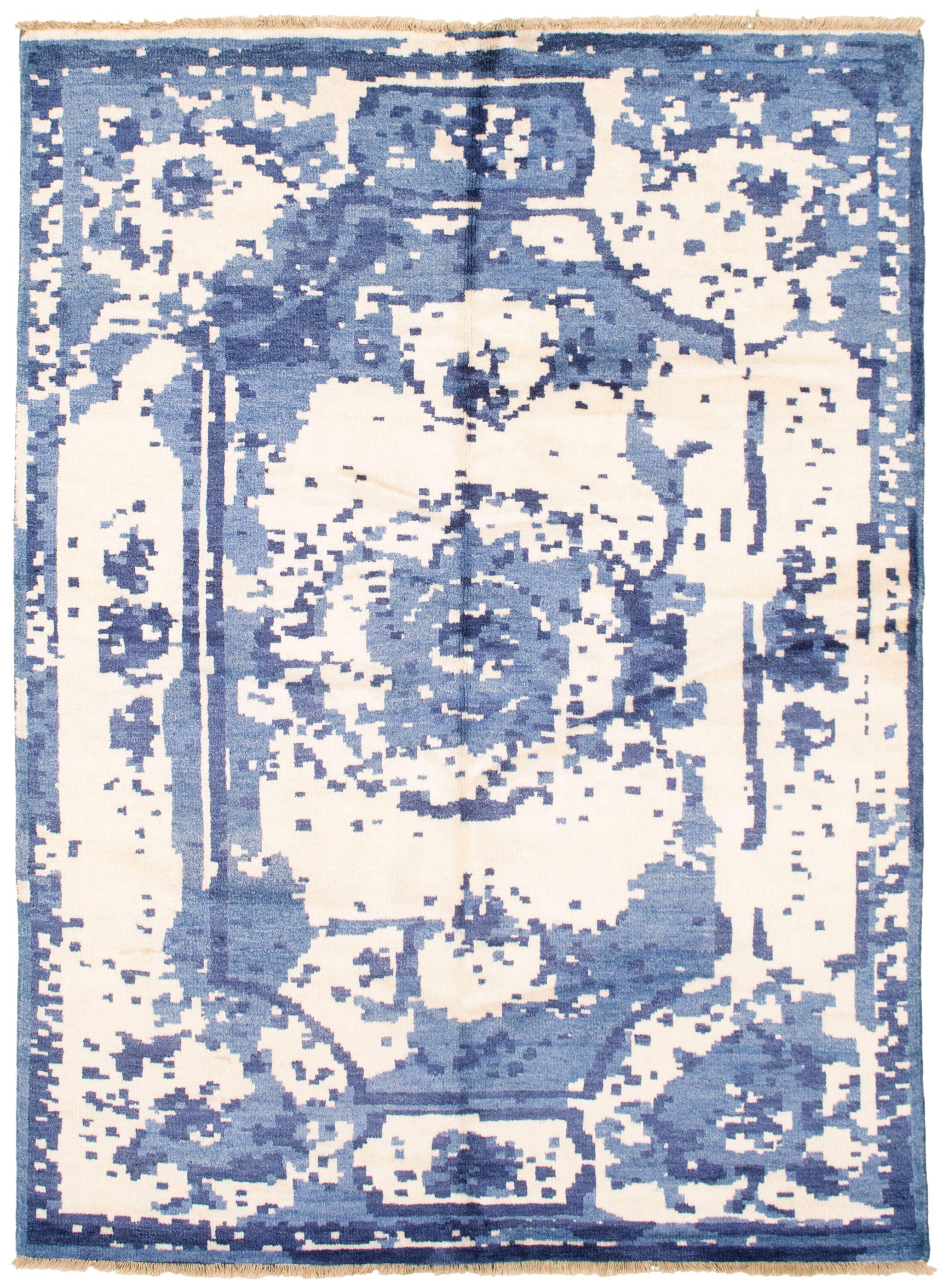 """Hand-knotted Jules Ushak Blue, Cream  Rug 5'5"""" x 7'5"""" Size: 5'5"""" x 7'5"""""""