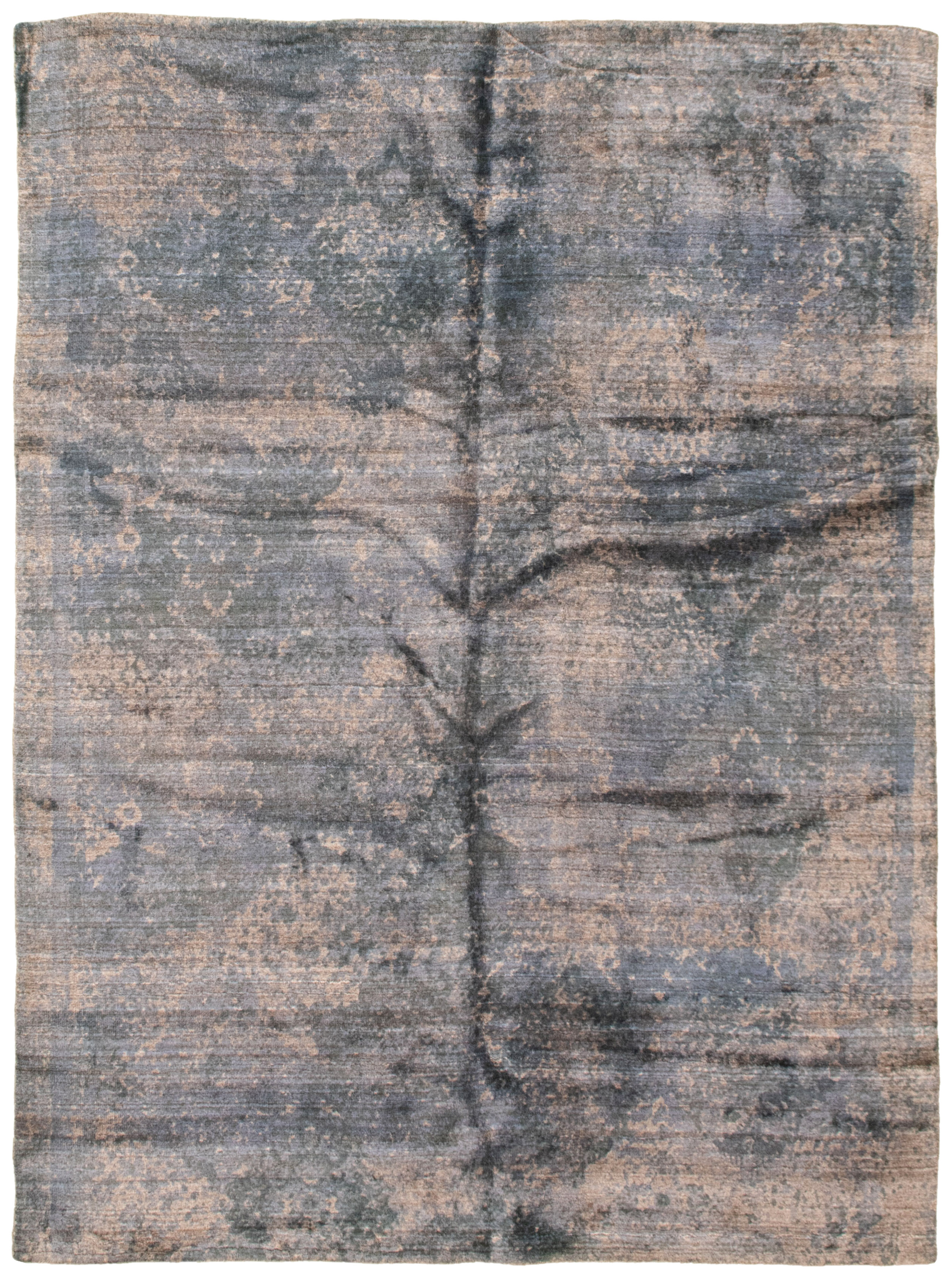 """Hand loomed Galleria Navy Blue Viscose Rug 5'2"""" x 7'3"""" Size: 5'2"""" x 7'3"""""""