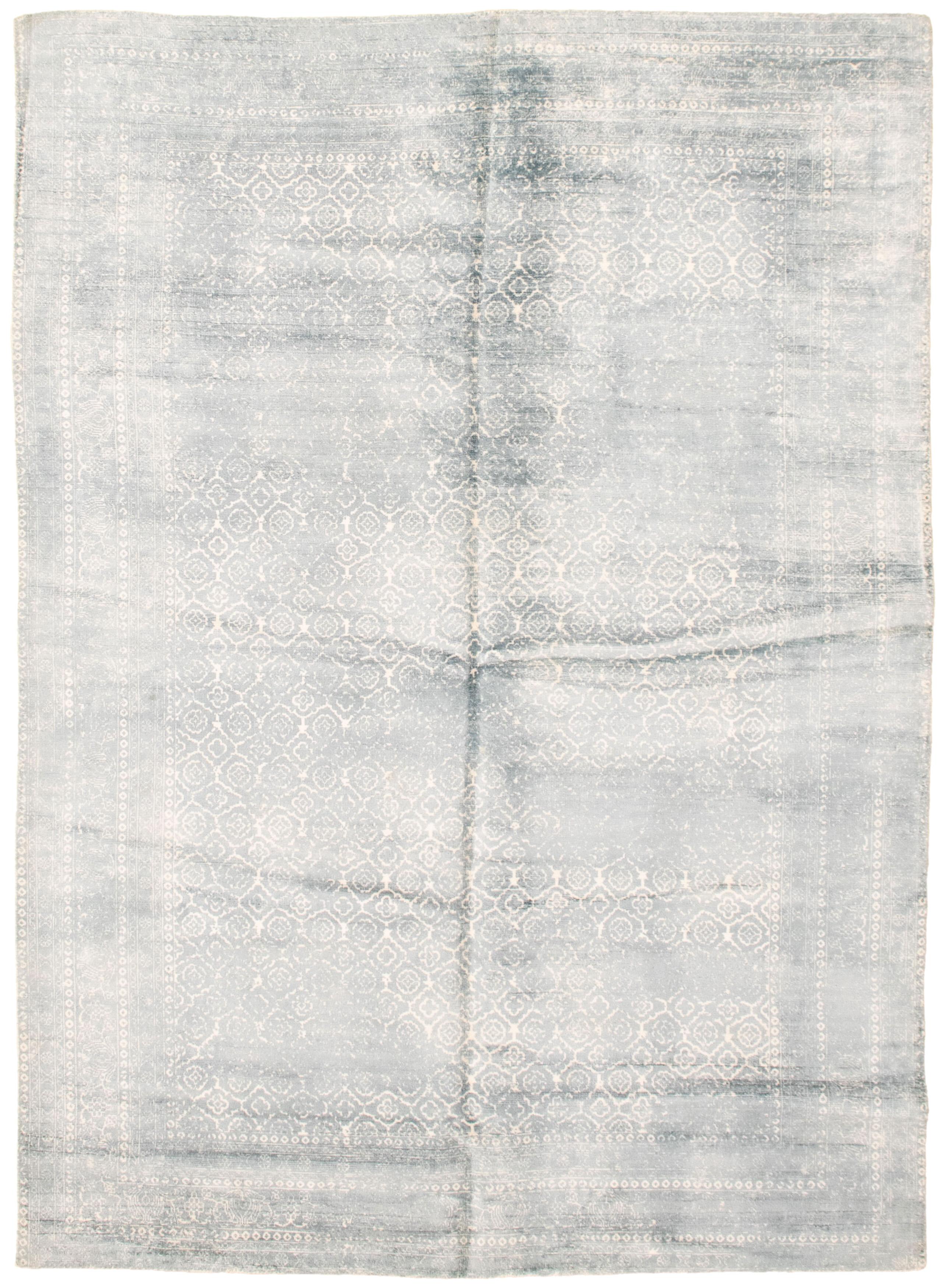 "Hand loomed Galleria Light Blue  Viscose Rug 5'0"" x 8'2"" Size: 5'0"" x 8'2"""