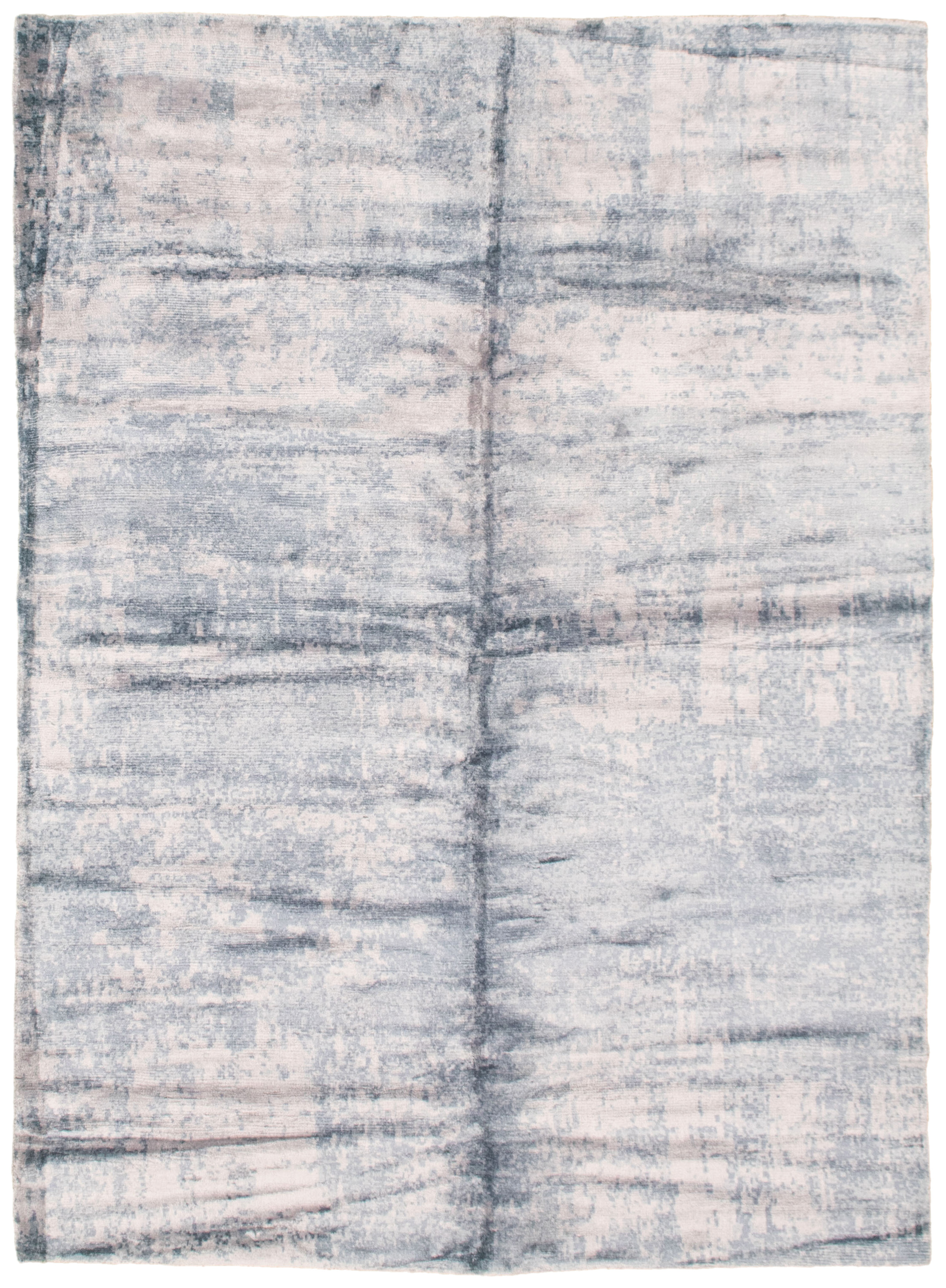 "Hand loomed Galleria Light Grey, Navy Blue Viscose Rug 4'9"" x 6'9"" Size: 4'9"" x 6'9"""