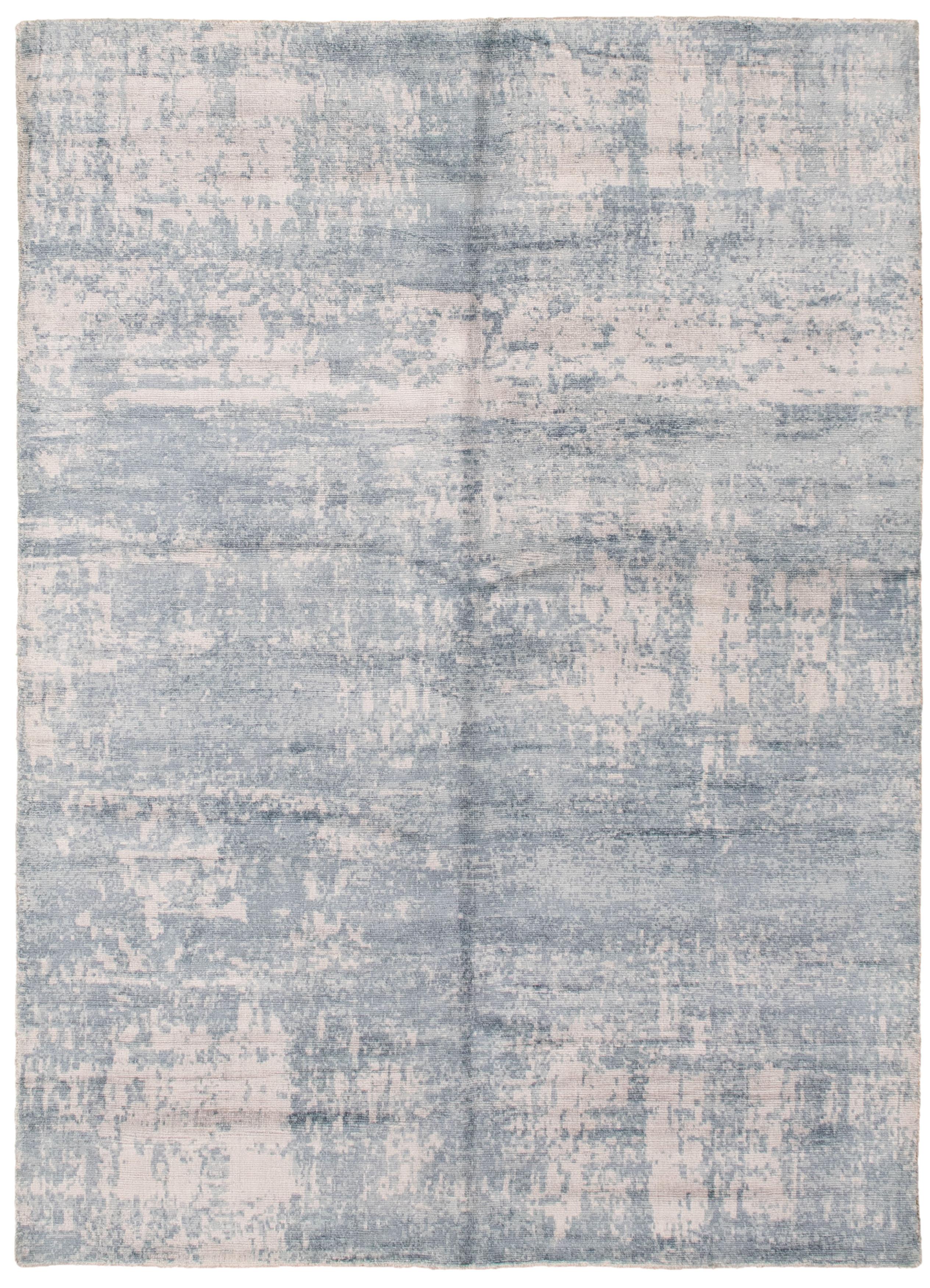 "Hand loomed Galleria Dark Blue, Light Grey Viscose Rug 4'9"" x 6'10"" Size: 4'9"" x 6'10"""
