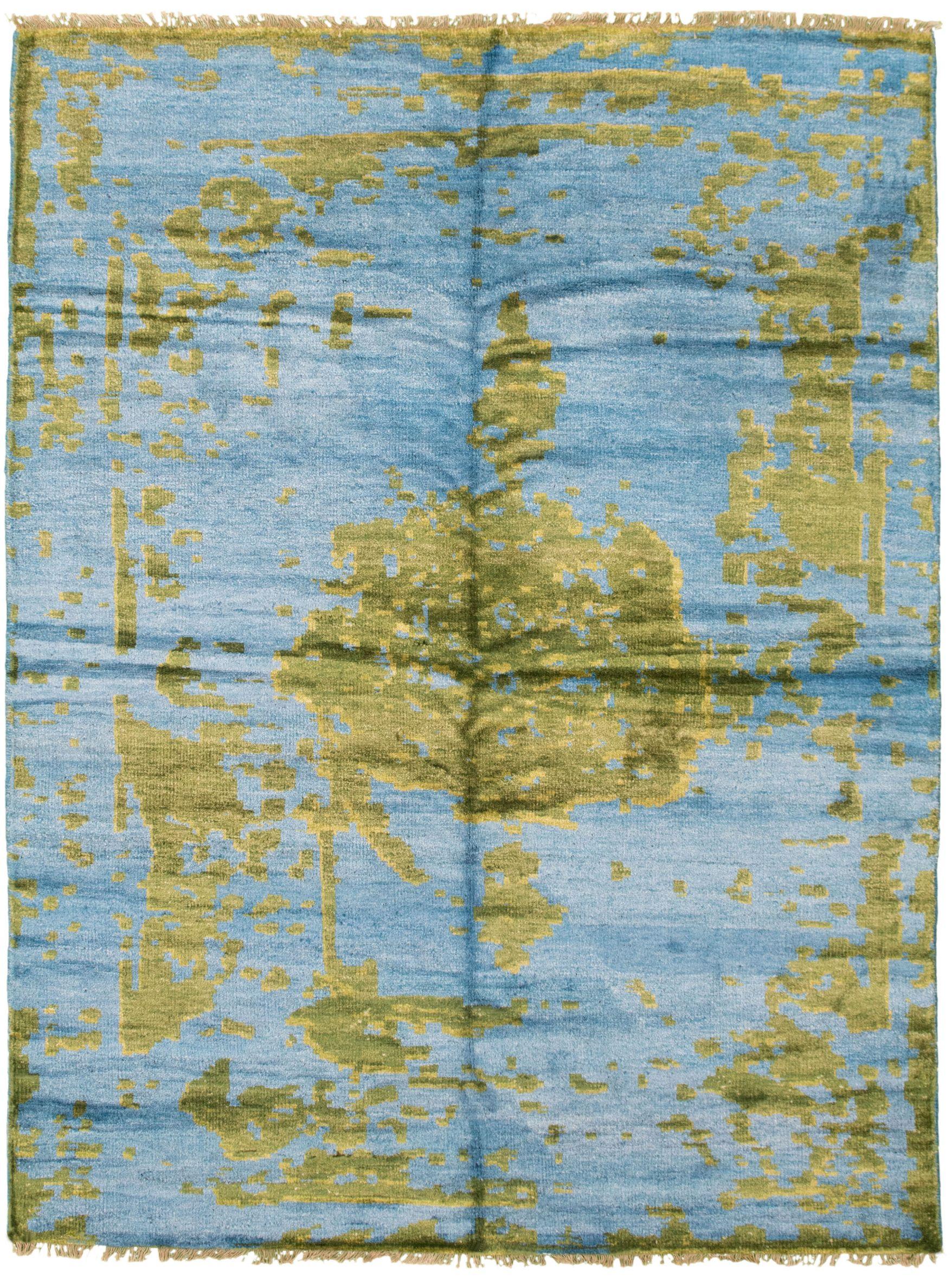 "Hand-knotted Jules Ushak Blue  Rug 5'6"" x 7'7"" Size: 5'6"" x 7'7"""