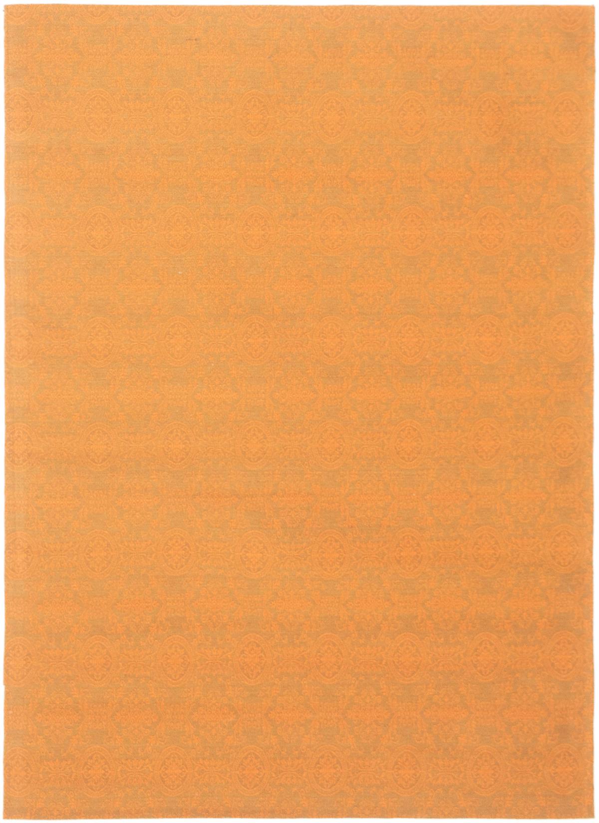 """Handmade Collage Burnt Orange, Dark Green Chenille Rug 4'9"""" x 6'8"""" Size: 4'9"""" x 6'8"""""""