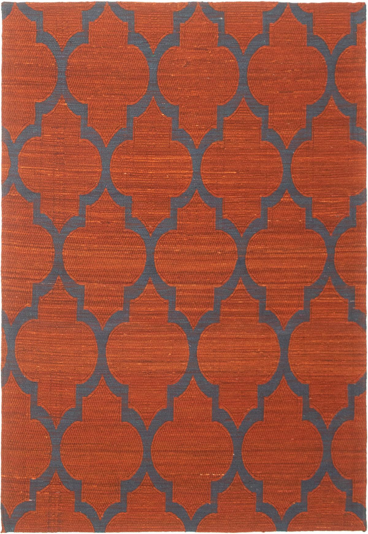 """Handmade Collage Dark Copper, Light Denim Blue Wool Rug 5'1"""" x 7'6"""" Size: 5'1"""" x 7'6"""""""