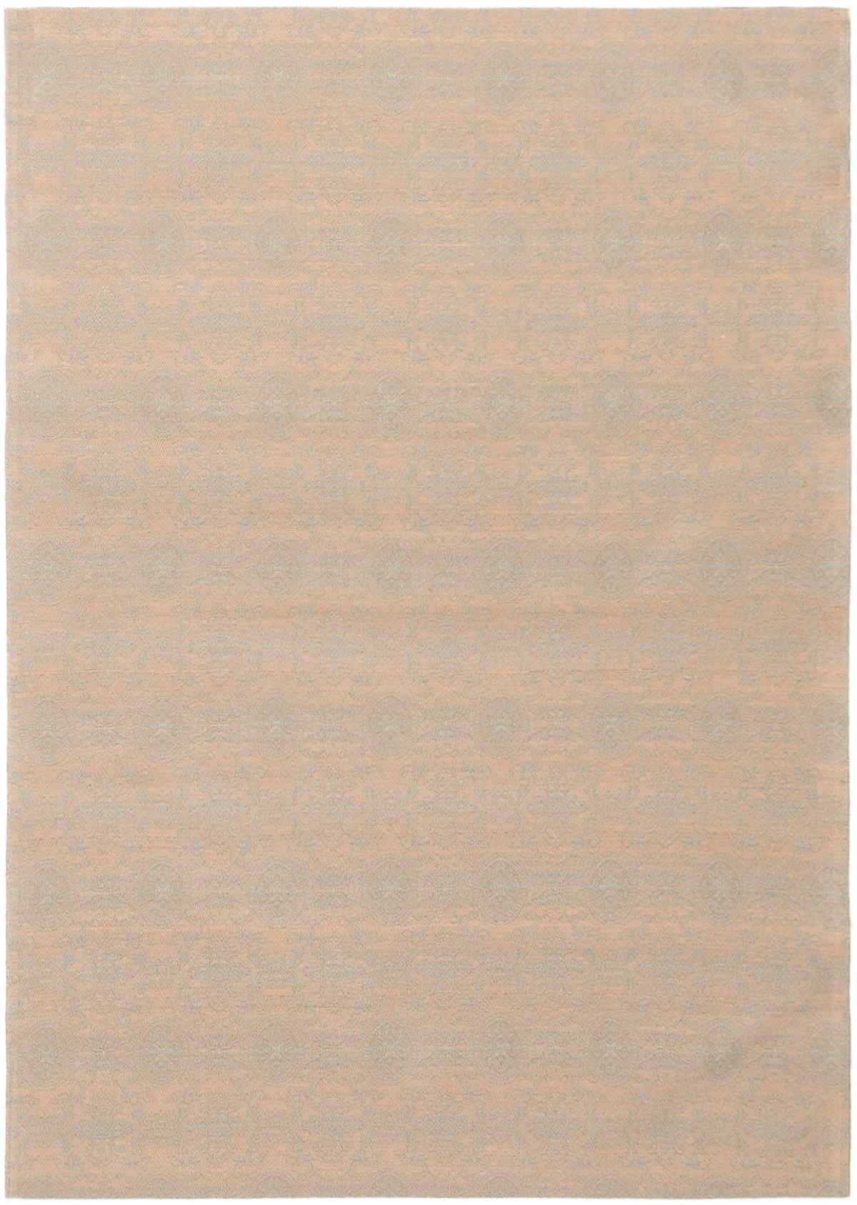 "Handmade Collage Light Denim Blue, Tan Chenille Rug 4'9"" x 6'9"" Size: 4'9"" x 6'9"""