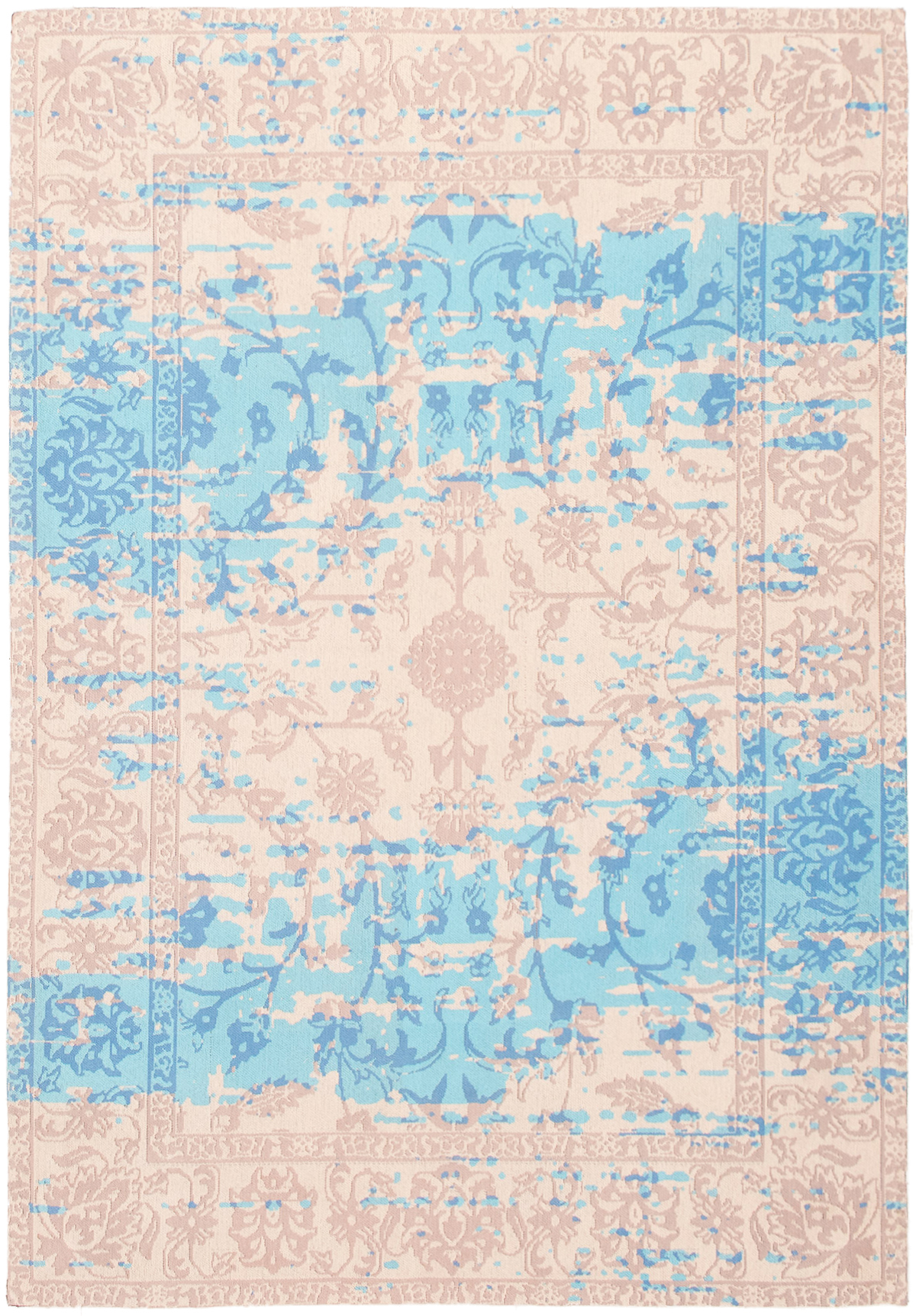"""Handmade Collage Ivory, Light Blue  Chenille Rug 5'3"""" x 7'6"""" Size: 5'3"""" x 7'6"""""""
