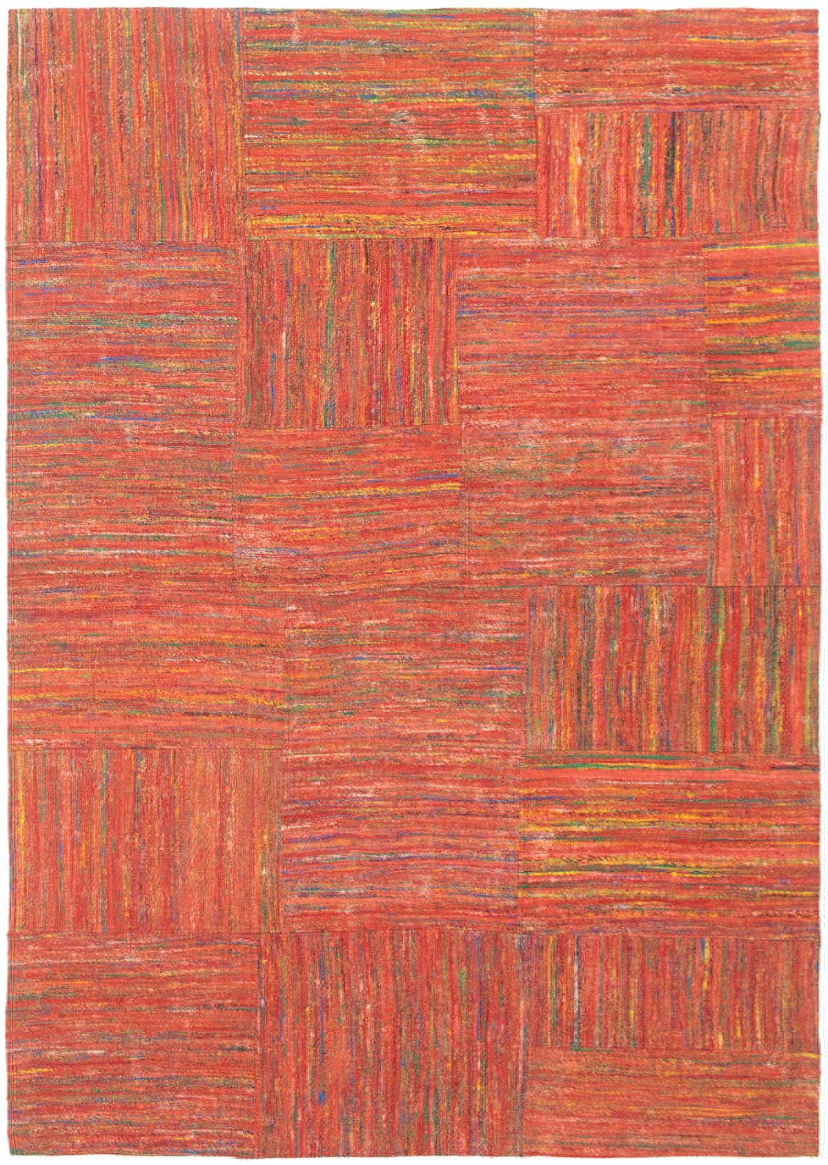 """Handmade Collage Dark Copper Silk Rug 5'3"""" x 7'6""""  Size: 5'3"""" x 7'6"""""""