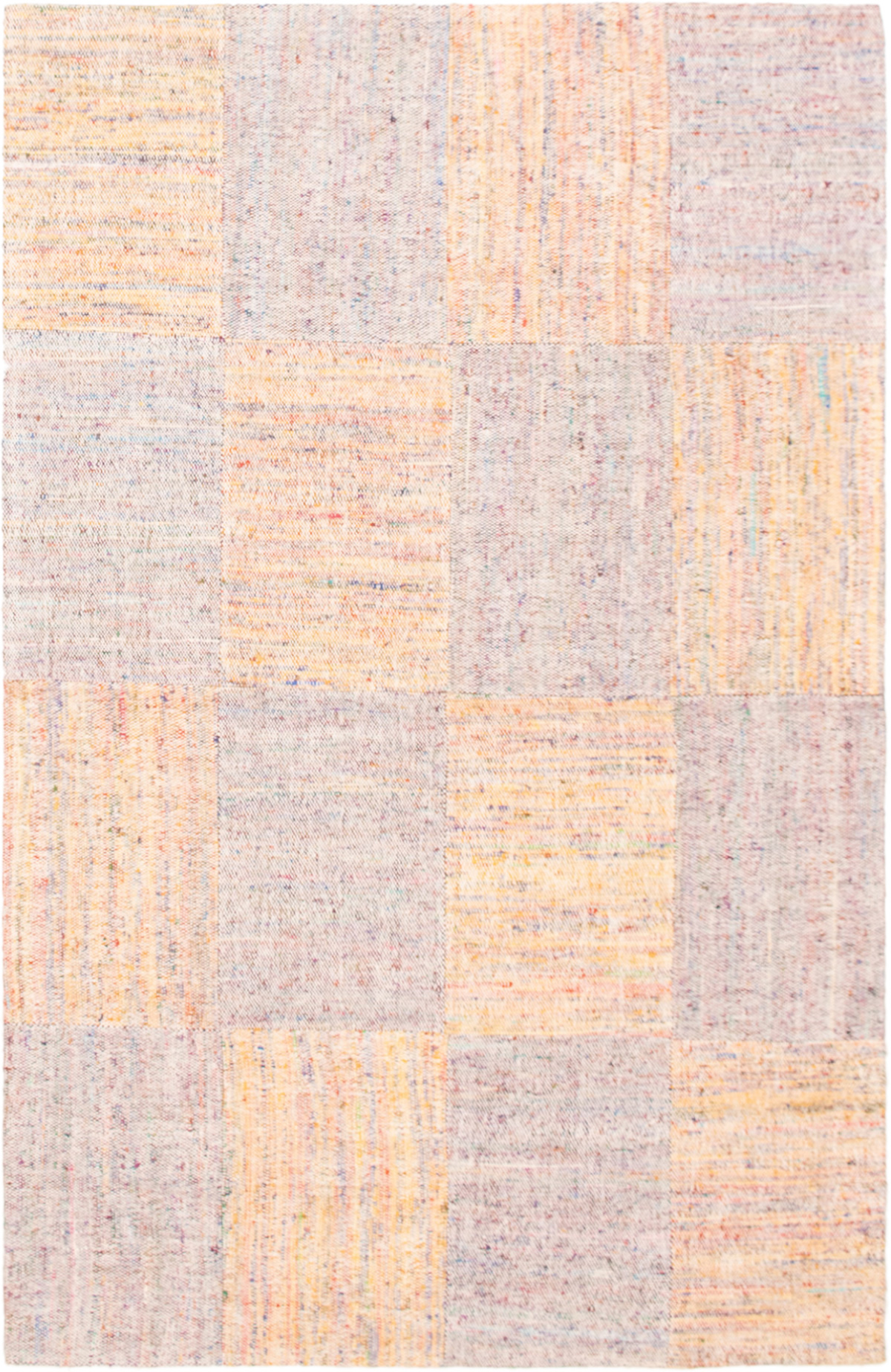 "Handmade Collage Ivory, Light Orange Chenille Rug 5'1"" x 8'0"" Size: 5'1"" x 8'0"""