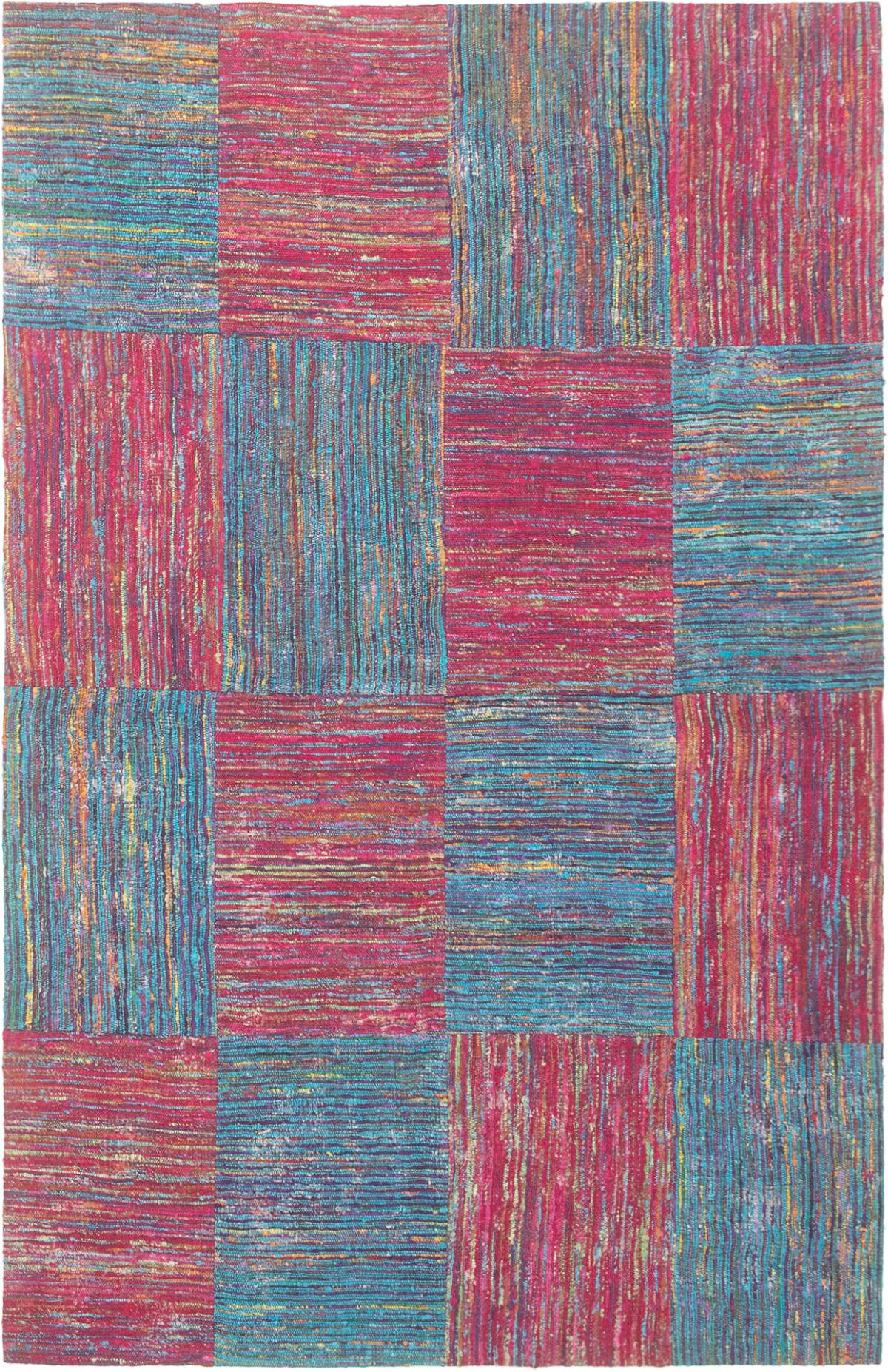 "Handmade Collage Burgundy, Light Denim Blue,  Chenille Rug 5'1"" x 7'11"" Size: 5'1"" x 7'11"""