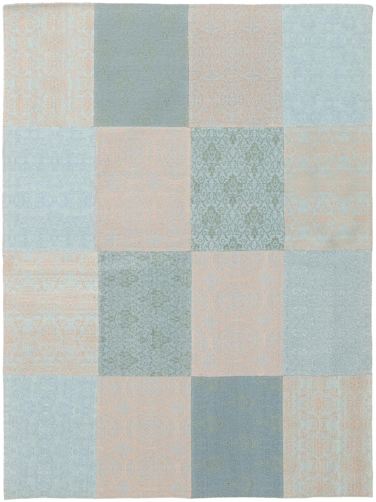"Handmade Collage Grey, Light Blue  Chenille Rug 5'8"" x 7'8""  Size: 5'8"" x 7'8"""