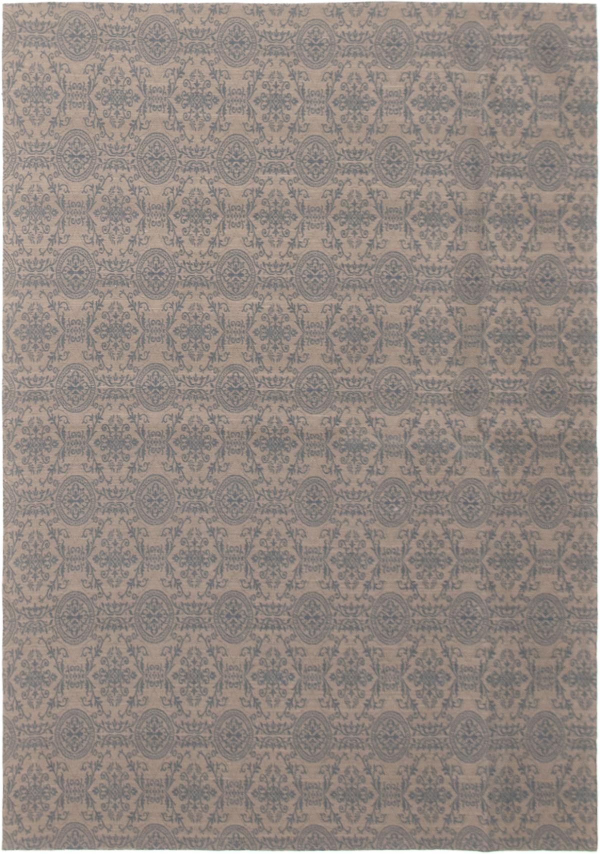 """Handmade Collage Dark Grey, Dark Navy Chenille Rug 4'9"""" x 6'9""""  Size: 4'9"""" x 6'9"""""""
