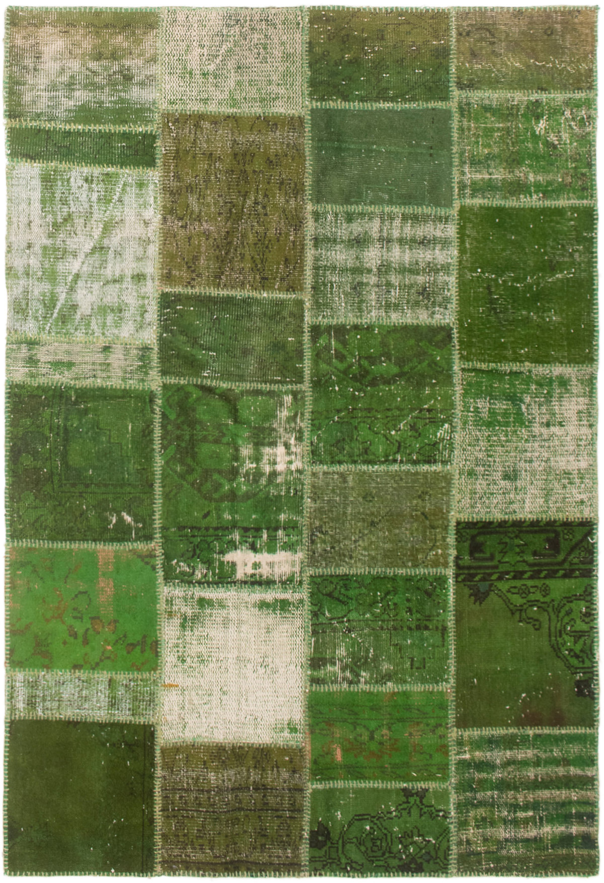 """Hand-knotted Color Transition Patch Green Wool Rug 4'9"""" x 7'3"""" Size: 4'9"""" x 7'3"""""""