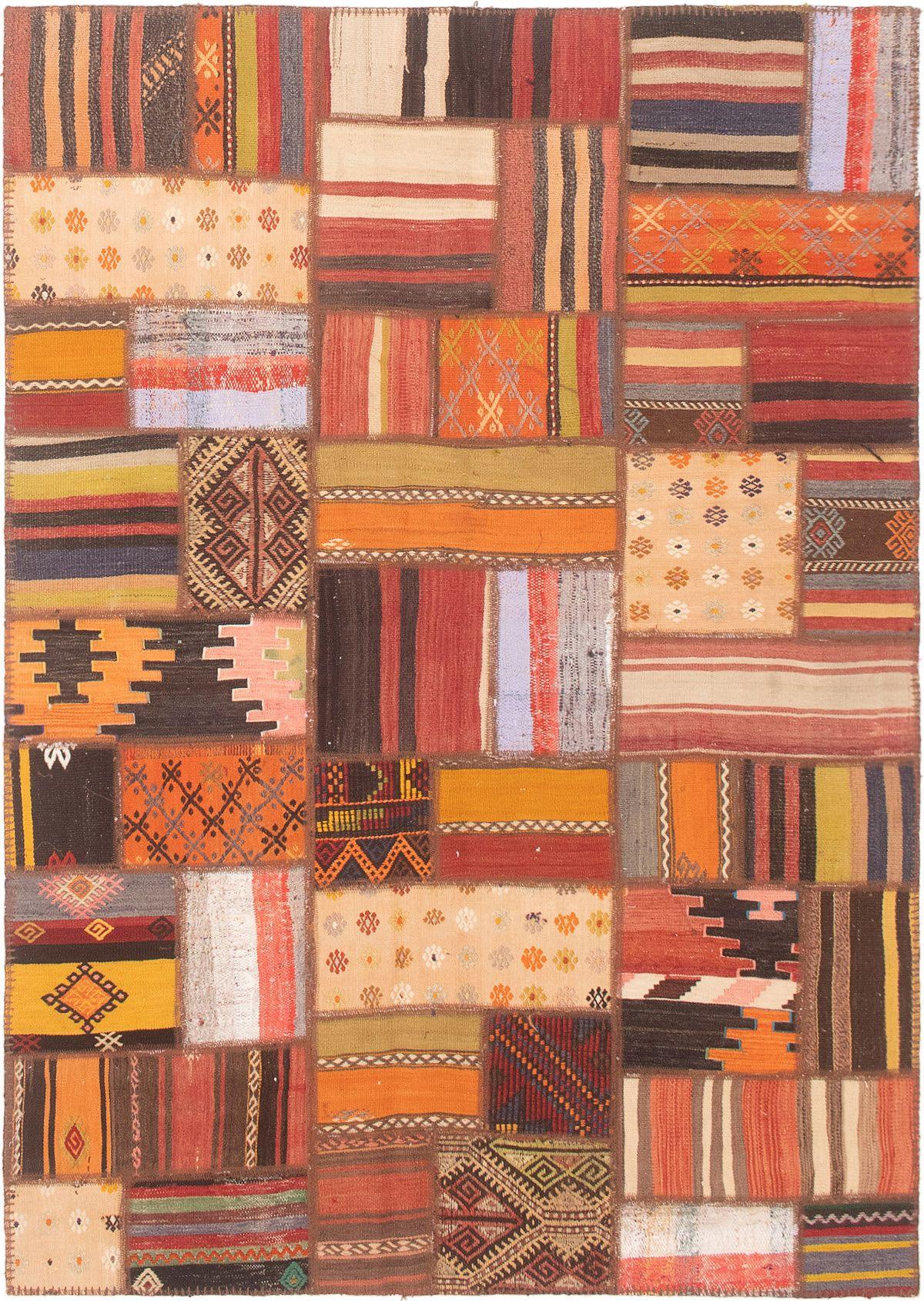 "Moldovia Patch Brown, Light Orange Wool  4'8"" x 6'8"" Size: 4'8"" x 6'8"""