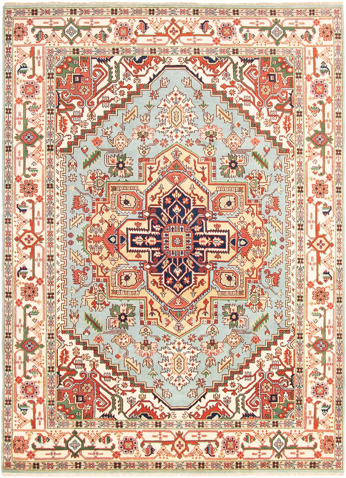 """Hand-knotted Serapi Heritage Light Blue  Wool Rug 8'11"""" x 11'11""""  Size: 8'11"""" x 11'11"""""""