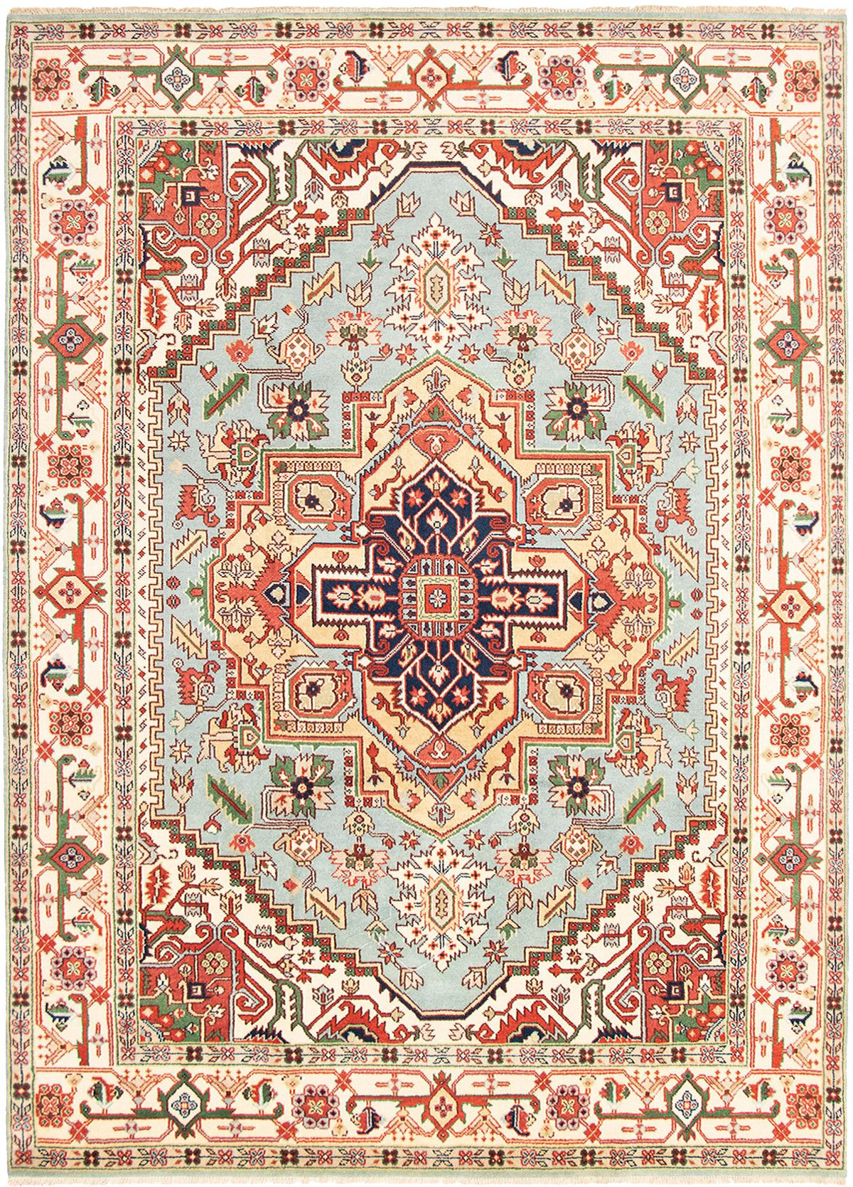 """Hand-knotted Serapi Heritage Light Blue  Wool Rug 9'1"""" x 12'1"""" Size: 9'1"""" x 12'1"""""""
