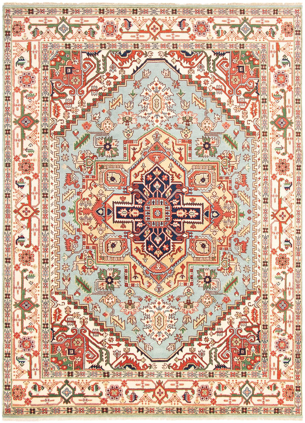 """Hand-knotted Serapi Heritage Light Blue  Wool Rug 9'1"""" x 11'11"""" Size: 9'1"""" x 11'11"""""""
