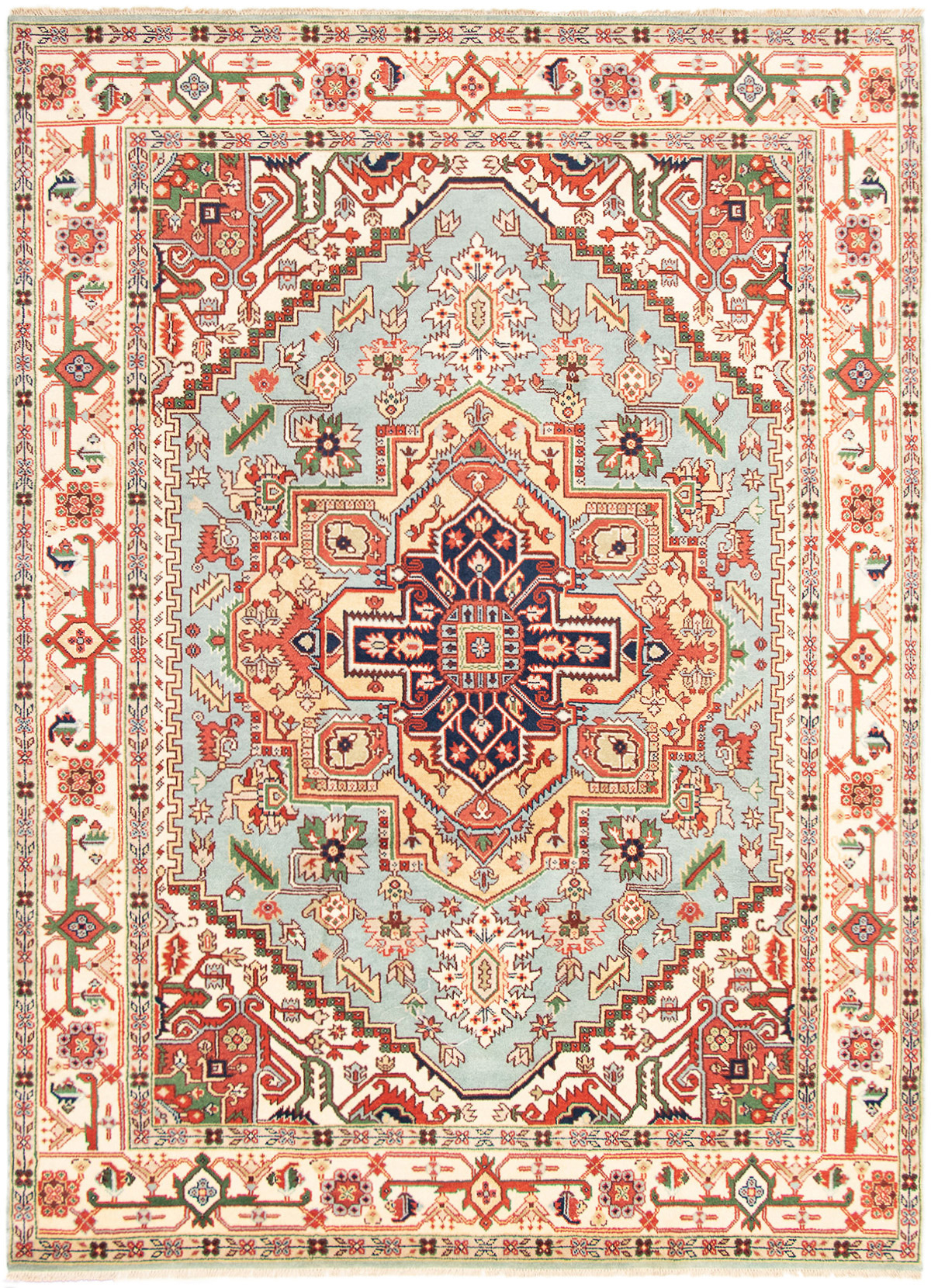 """Hand-knotted Serapi Heritage Light Blue  Wool Rug 8'11"""" x 12'0""""  Size: 8'11"""" x 12'0"""""""