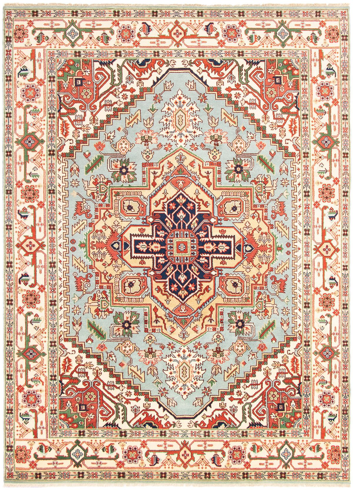 """Hand-knotted Serapi Heritage Light Blue  Wool Rug 9'3"""" x 12'0"""" Size: 9'3"""" x 12'0"""""""
