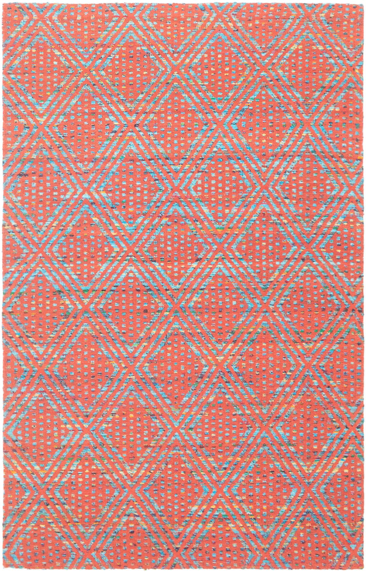 "Handmade Collage Dark Copper, Light Blue  Chenille Rug 5'1"" x 7'11"" Size: 5'1"" x 7'11"""