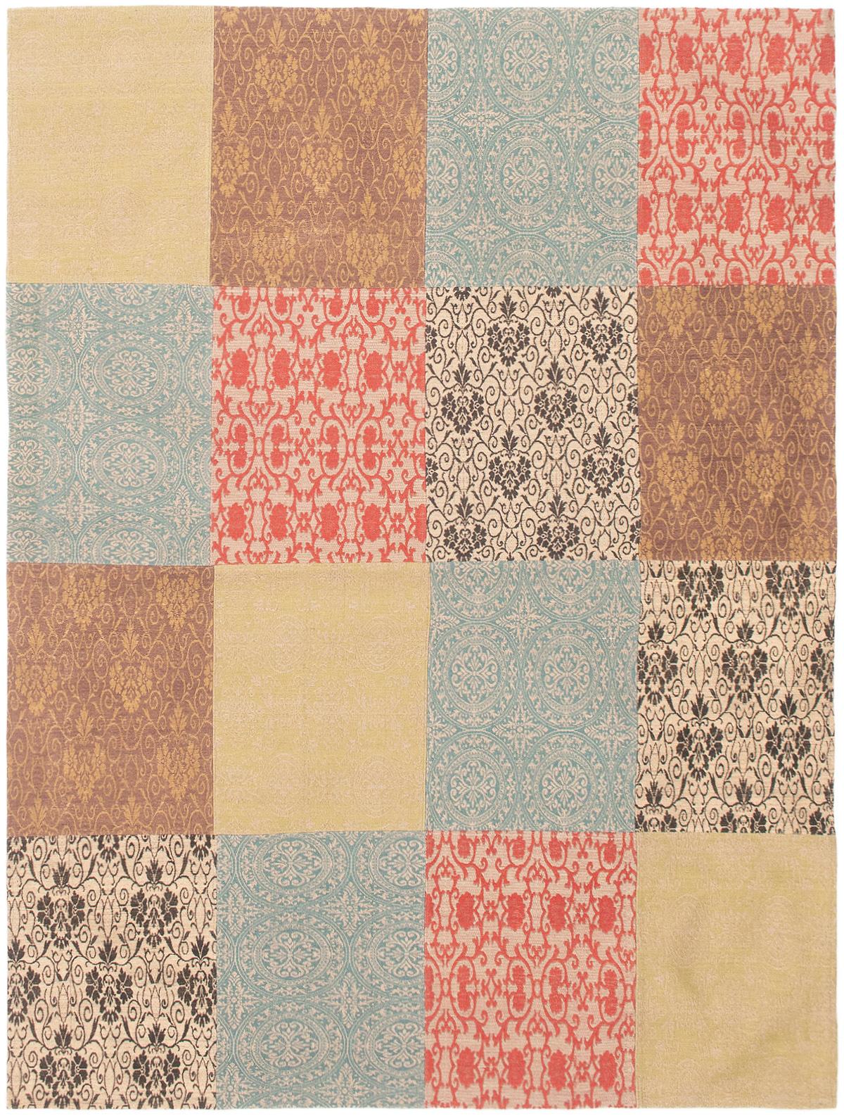 "Handmade Collage Khaki, Light Blue  Chenille Rug 5'7"" x 7'7"" Size: 5'7"" x 7'7"""
