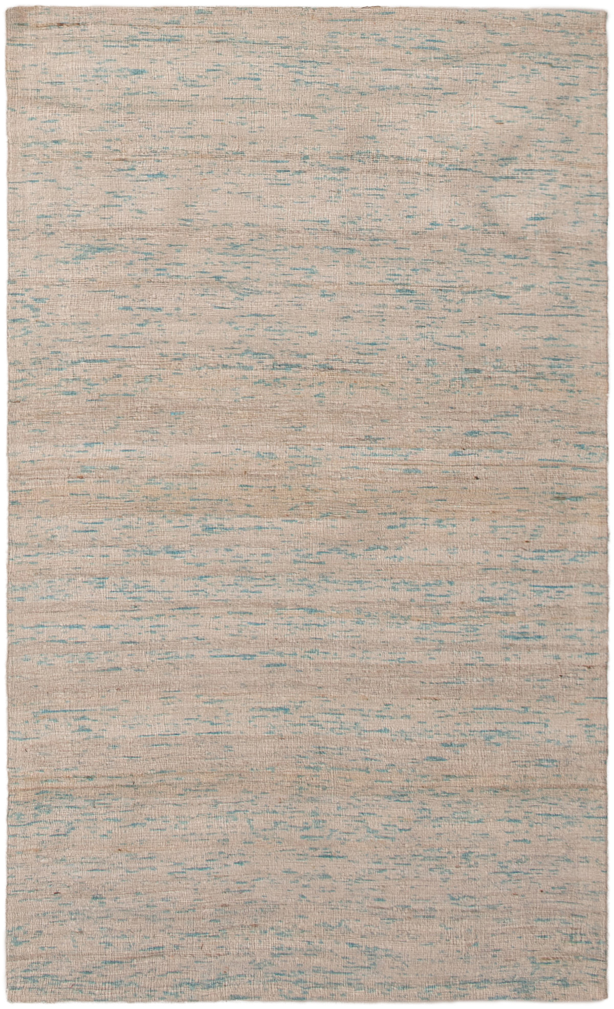 """Handmade Collage Ivory, Light Blue  Chenille Rug 3'7"""" x 5'11"""" Size: 3'7"""" x 5'11"""""""