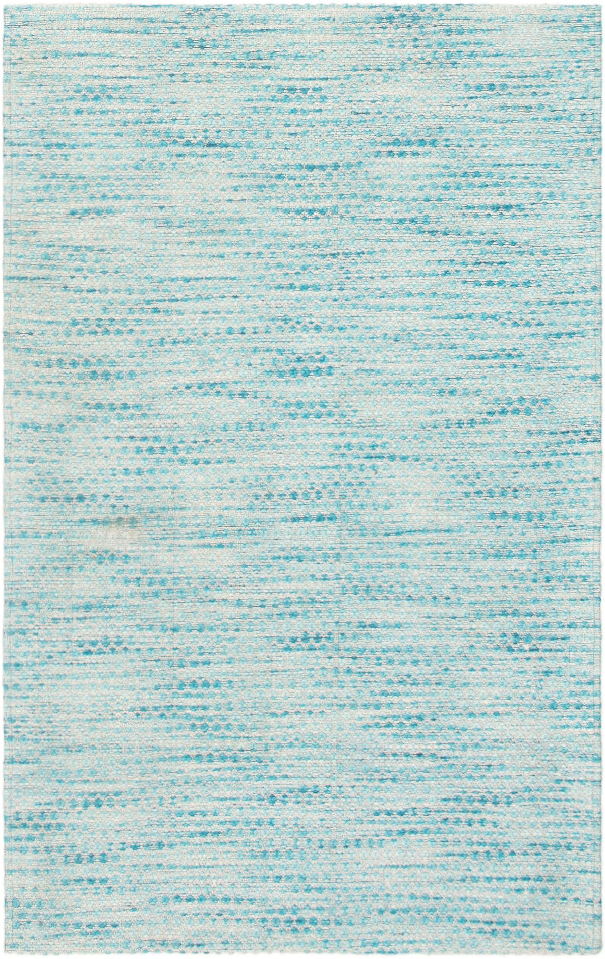 """Handmade Collage Sky Blue Chenille Rug 3'9"""" x 5'11"""" Size: 3'9"""" x 5'11"""""""