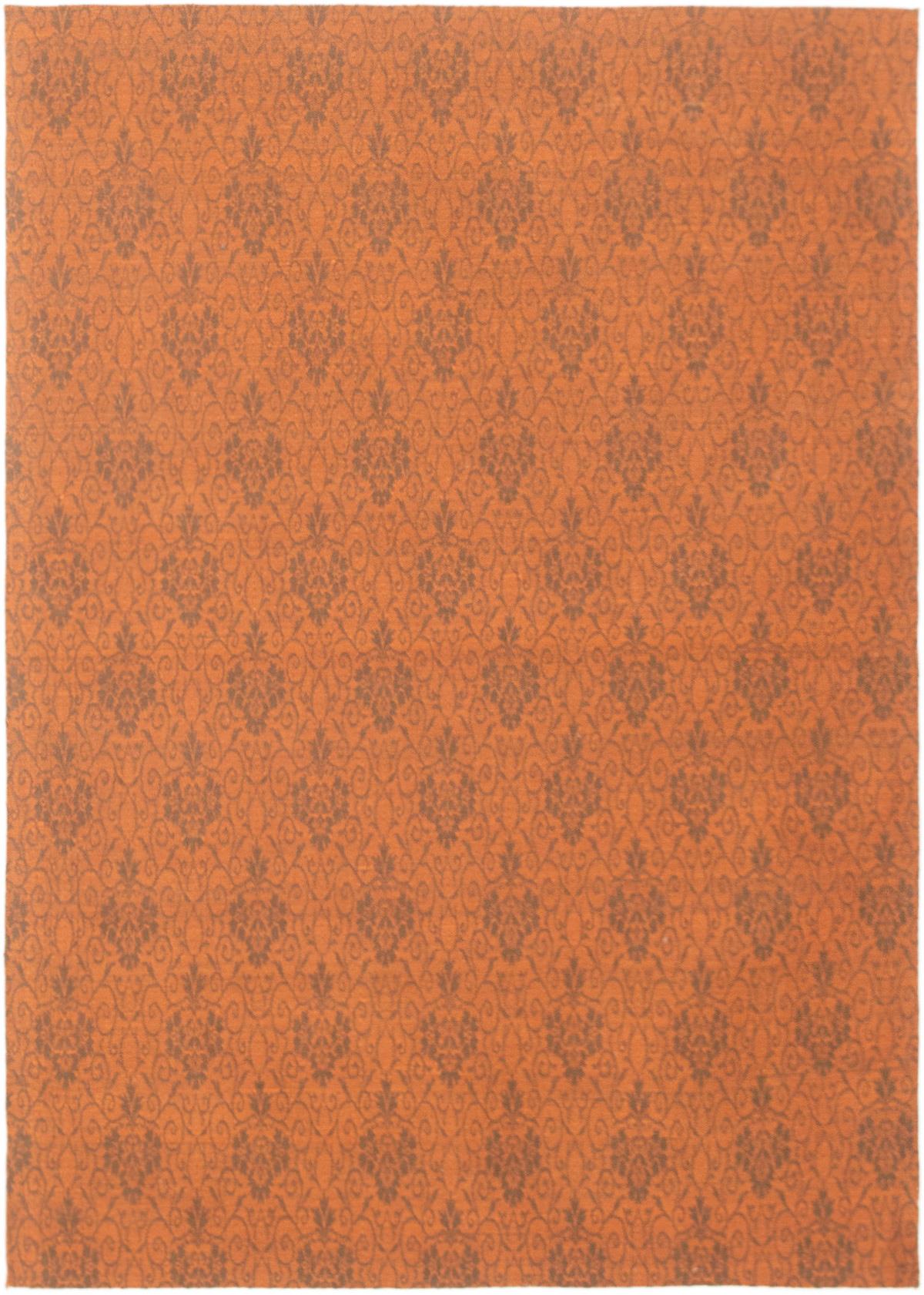"Handmade Collage Burnt Orange Chenille Rug 4'1"" x 6'7"" Size: 4'1"" x 6'7"""