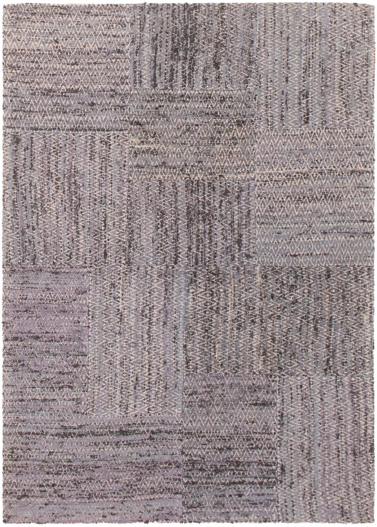 "Handmade Collage Denim Blue Chenille Rug 4'7"" x 6'7"" Size: 4'7"" x 6'7"""