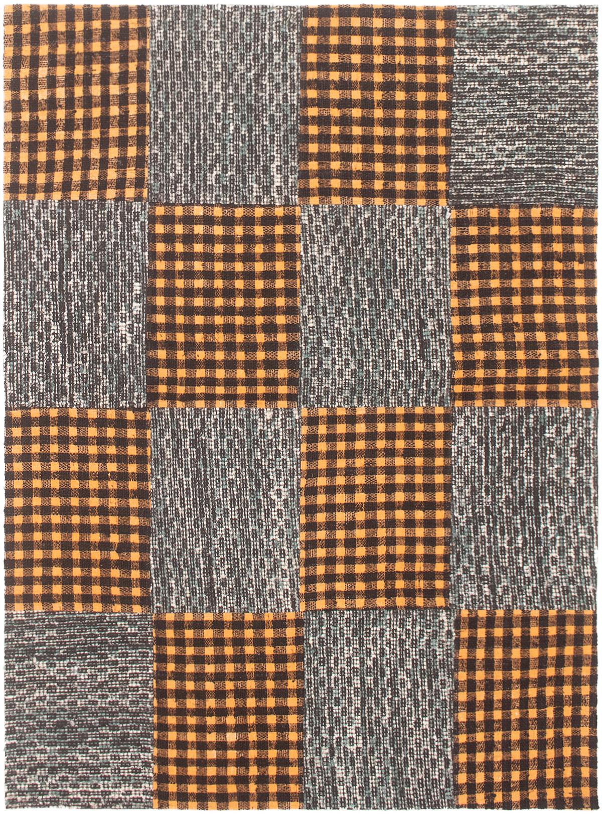 """Handmade Collage Burnt Orange, Dark Grey Chenille Rug 5'1"""" x 7'0"""" Size: 5'1"""" x 7'0"""""""