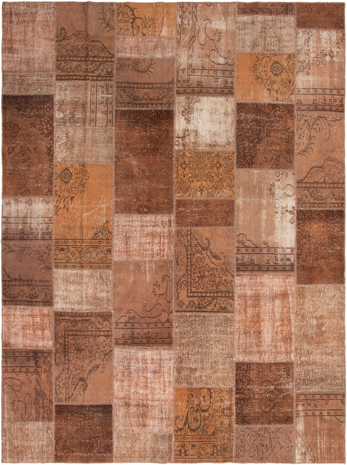 "Hand-knotted Color Transition Patch Brown Wool Rug 9'10"" x 13'2"" Size: 9'10"" x 13'2"""