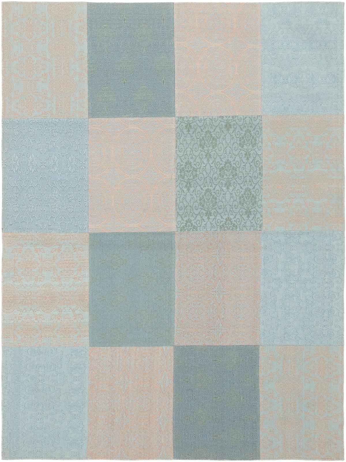 "Handmade Collage Light Blue , Light Grey Chenille Rug 5'8"" x 7'7"" Size: 5'8"" x 7'7"""