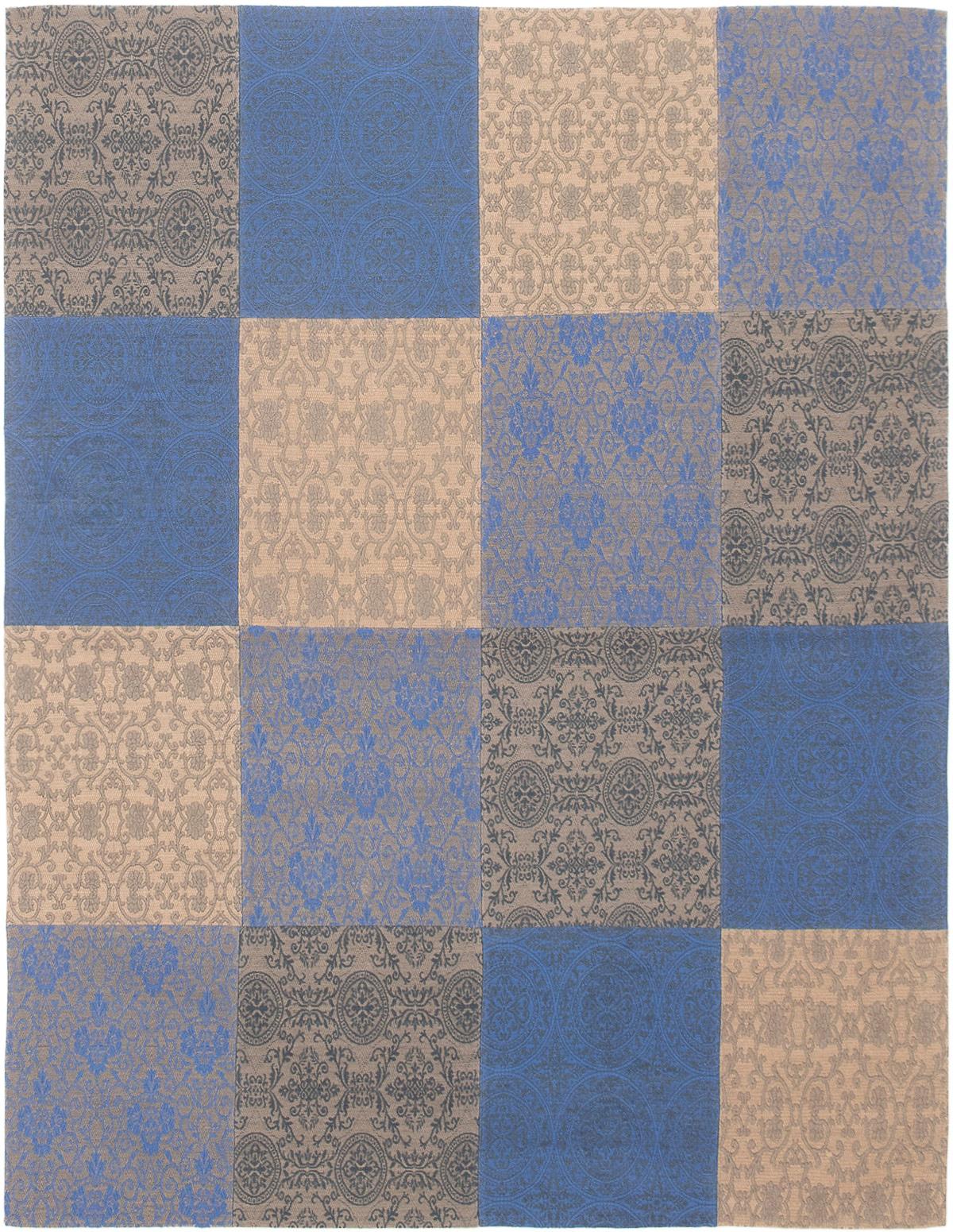 """Handmade Collage Dark Blue, Grey Chenille Rug 5'8"""" x 7'6"""" Size: 5'8"""" x 7'6"""""""