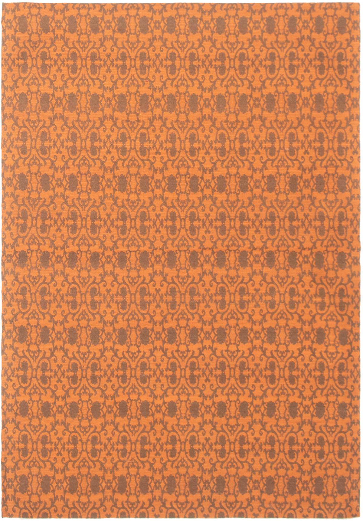 "Handmade Collage Burnt Orange Chenille Rug 4'7"" x 6'8"" Size: 4'7"" x 6'8"""