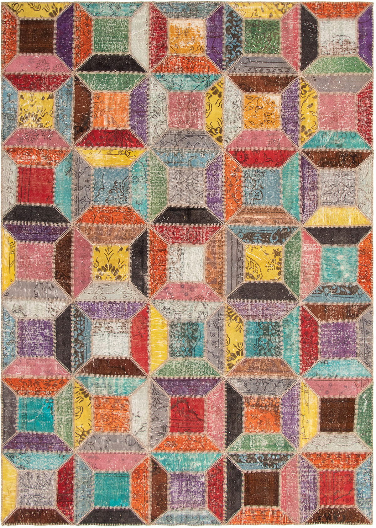 """Hand-knotted Color Transition Patch Light Blue , Red Wool Rug 8'2"""" x 11'8"""" Size: 8'2"""" x 11'8"""""""