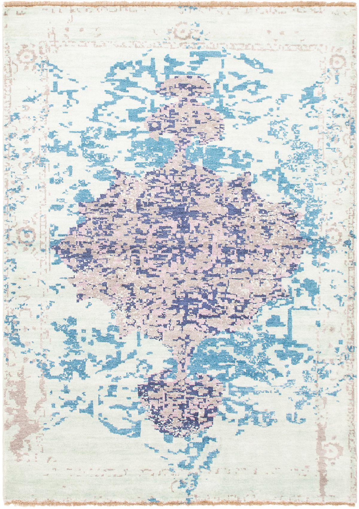 "Hand-knotted Jules Ushak Light Blue   Rug 5'6"" x 7'10"" Size: 5'6"" x 7'10"""