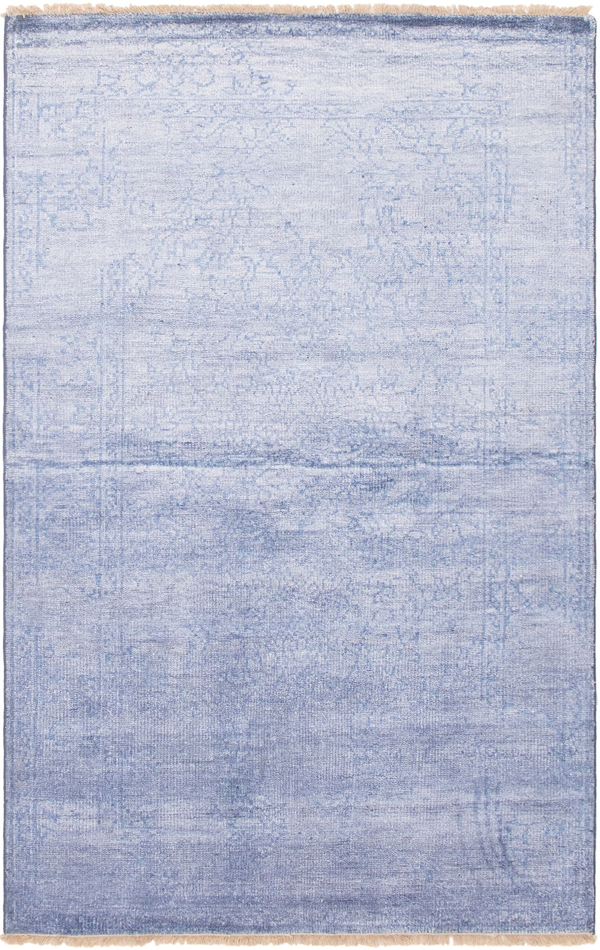"""Hand-knotted Color transition Blue  Rug 5'3"""" x 8'1"""" Size: 5'3"""" x 8'1"""""""