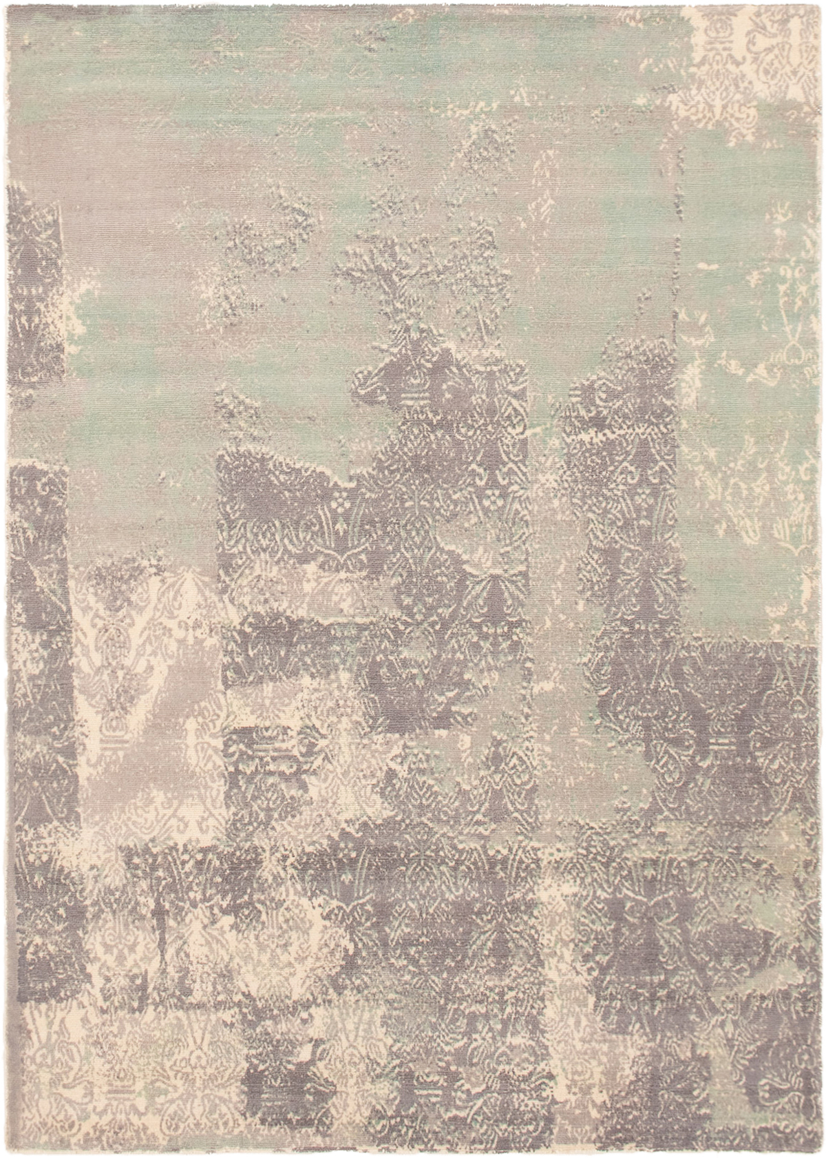 """Hand-knotted Galleria Cream, Light Blue  Wool Rug 5'2"""" x 7'4"""" Size: 5'2"""" x 7'4"""""""