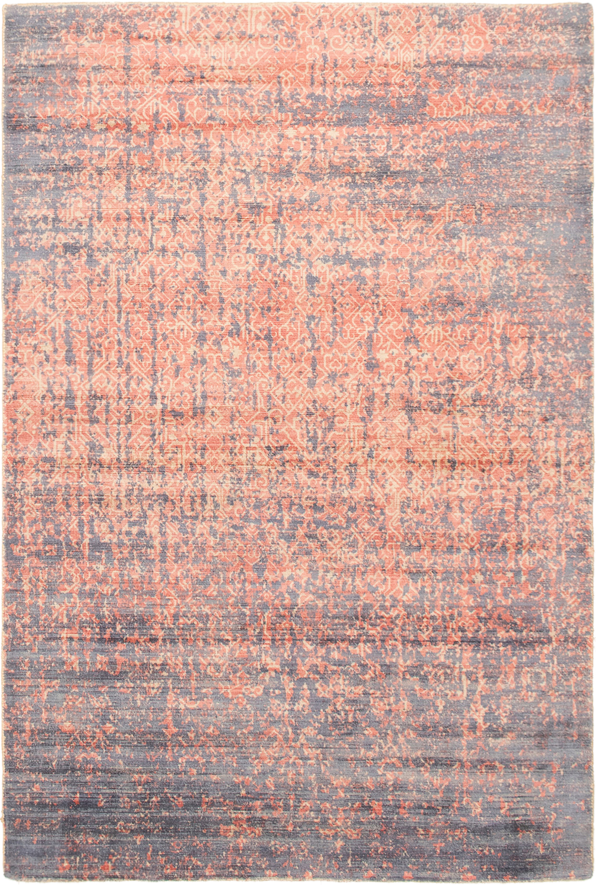 """Hand-knotted Galleria Light Blue , Red Viscose Rug 4'11"""" x 7'4"""" Size: 4'11"""" x 7'4"""""""