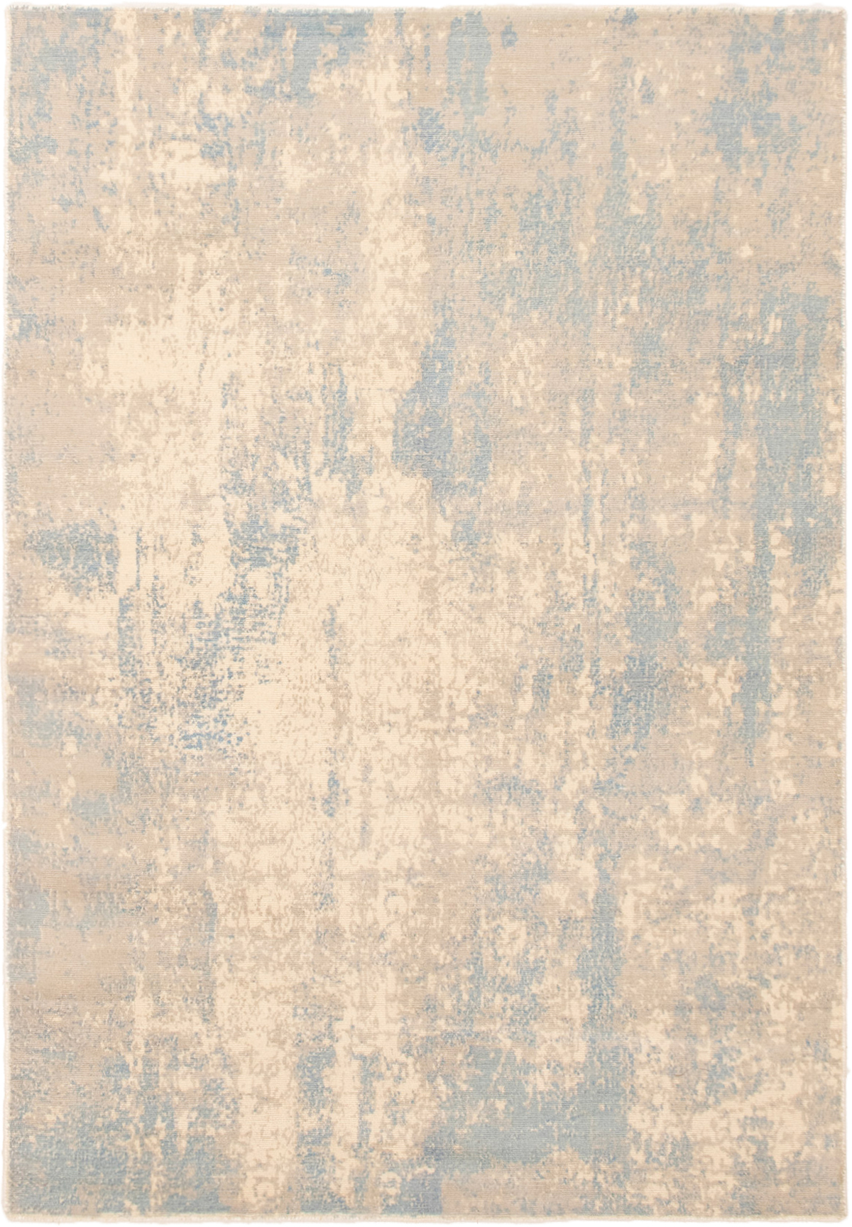 """Hand-knotted Galleria Ivory, Light Blue  Wool Rug 5'1"""" x 7'5"""" Size: 5'1"""" x 7'5"""""""