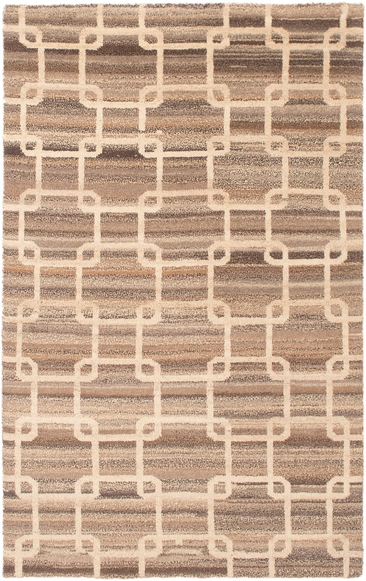 """Hand-knotted Tangier Tan Wool Rug 5'8"""" x 8'0"""" Size: 5'8"""" x 8'0"""""""
