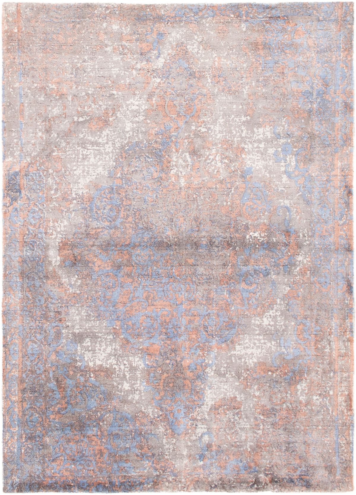 """Hand-knotted Eternity Light Blue  Wool Rug 5'5"""" x 7'6"""" Size: 5'5"""" x 7'6"""""""