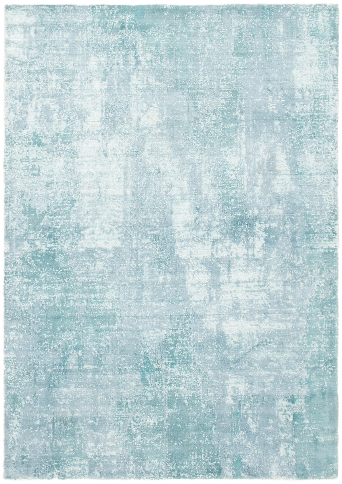 """Hand-knotted Galleria Light Blue  Viscose Rug 5'2"""" x 7'3"""" Size: 5'2"""" x 7'3"""""""