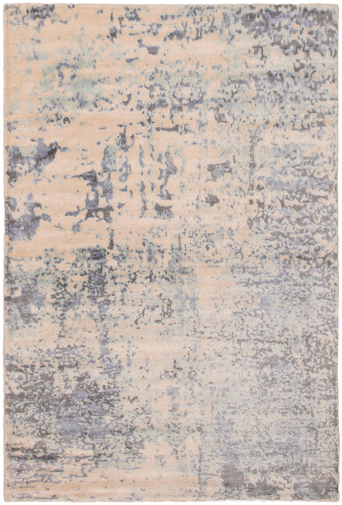 """Hand-knotted Galleria Ivory, Light Blue  Viscose Rug 5'0"""" x 7'6"""" Size: 5'0"""" x 7'6"""""""