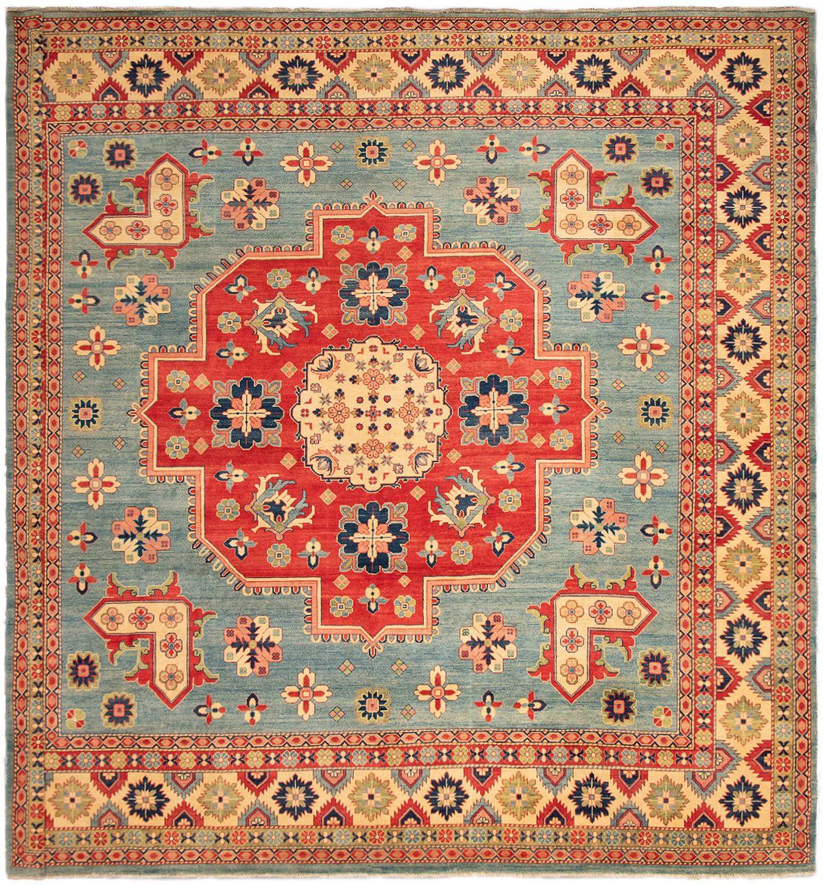 "Hand-knotted Finest Gazni Sky Blue Wool Rug 13'2"" x 12'10"" Size: 13'2"" x 12'10"""